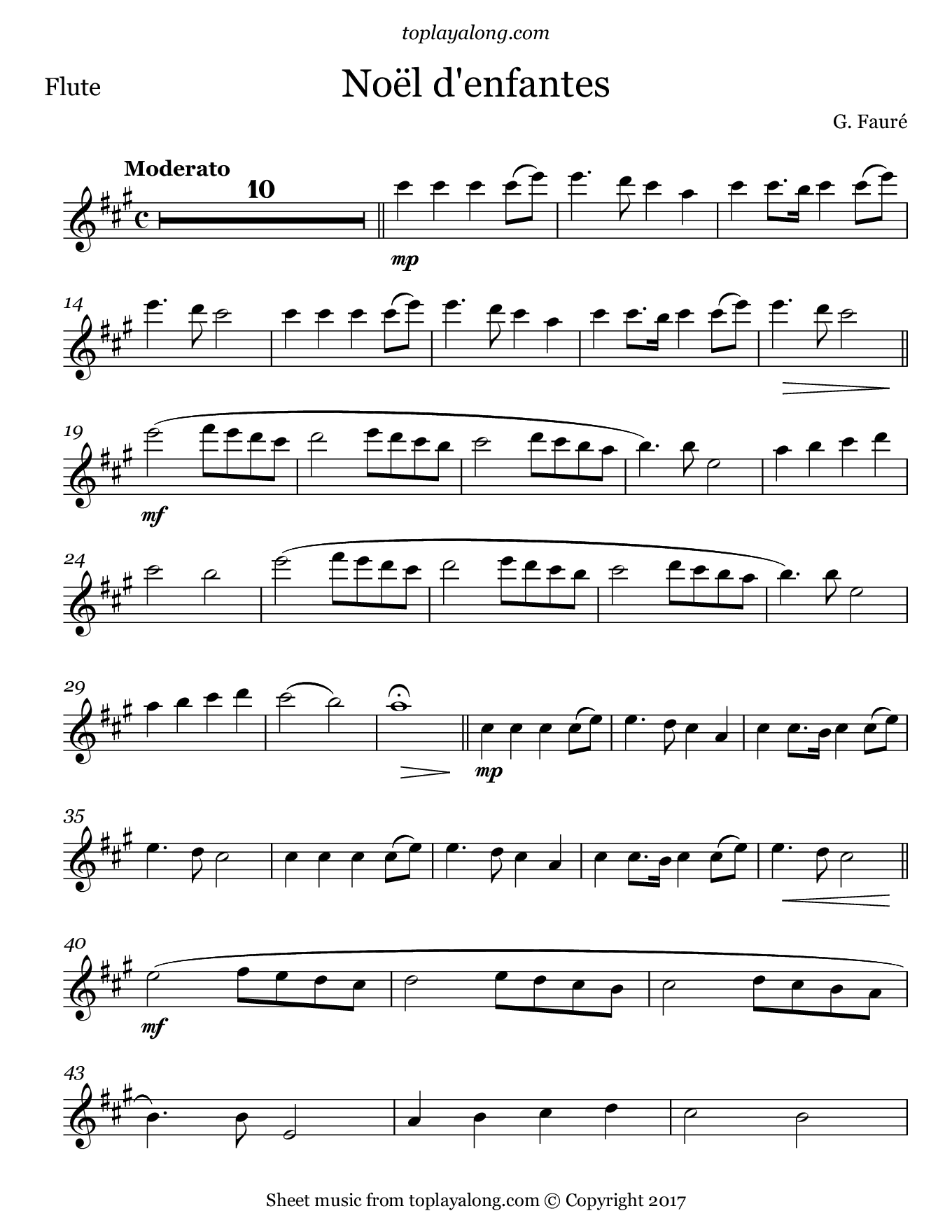 Noël d'enfants by Fauré. Sheet music for Flute, page 1.