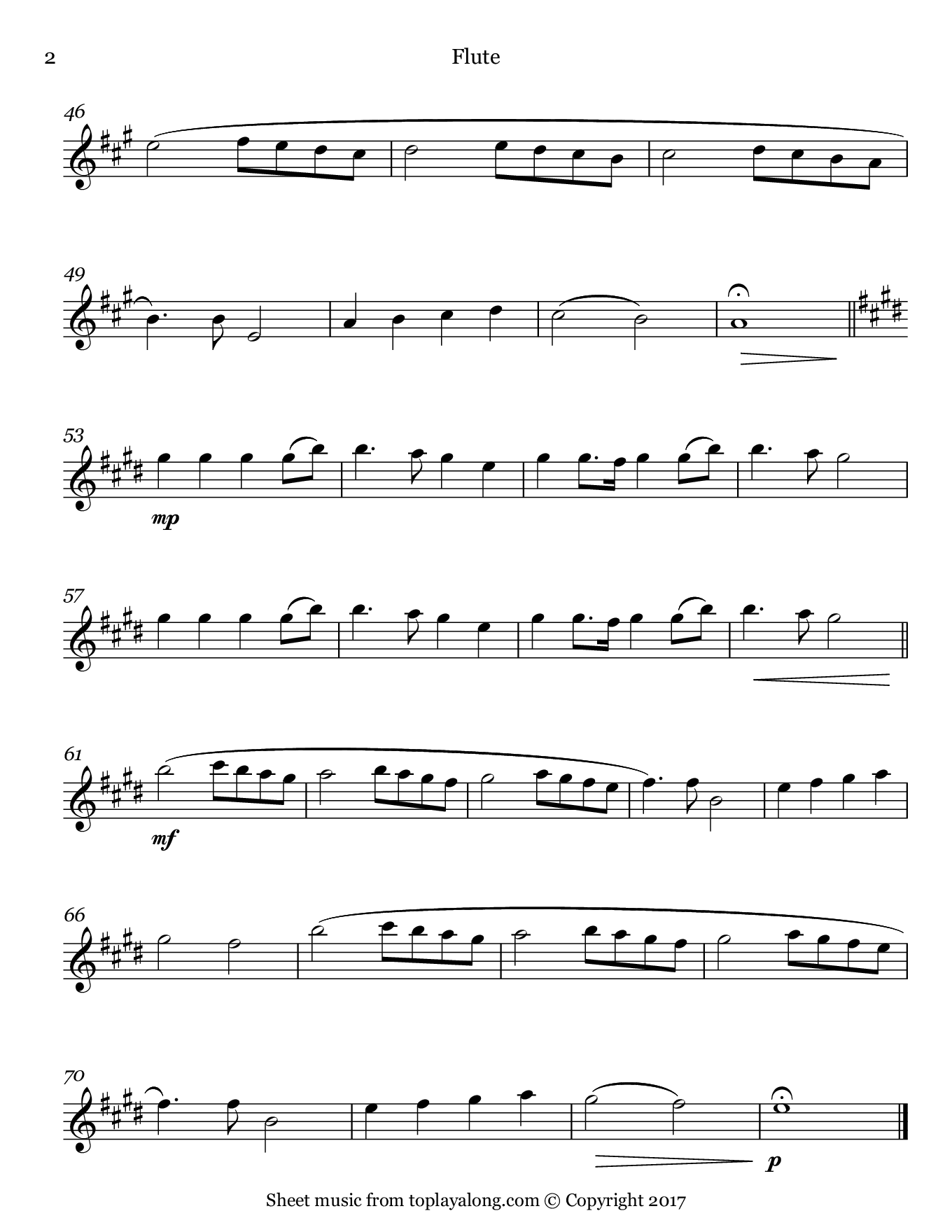 Noël d'enfants by Fauré. Sheet music for Flute, page 2.