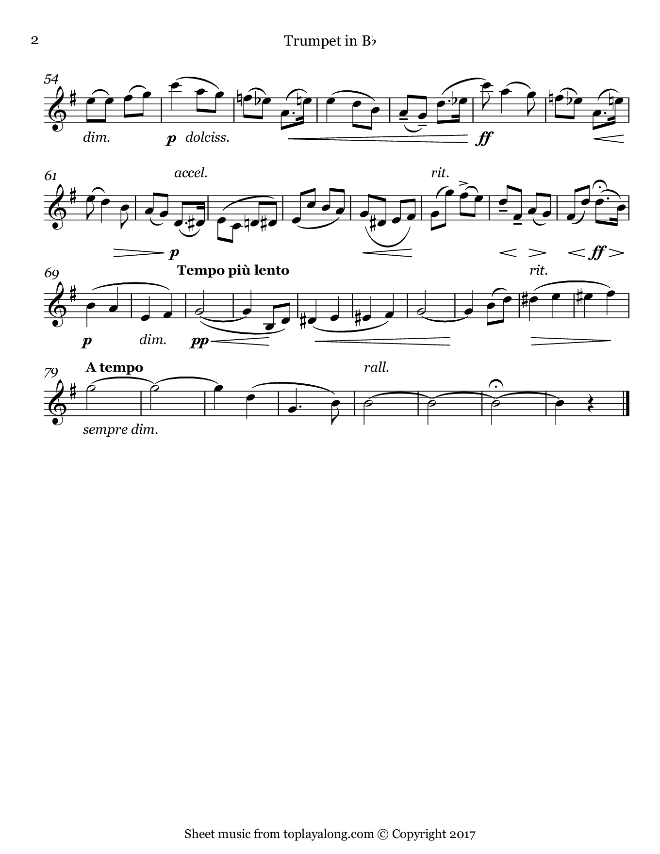 Salut d'amour by Elgar. Sheet music for Trumpet, page 2.