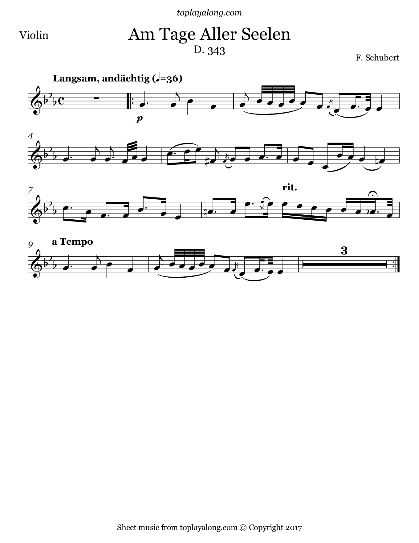 Am Tage Aller Seelen by Schubert. Sheet music for Violin, page 1.