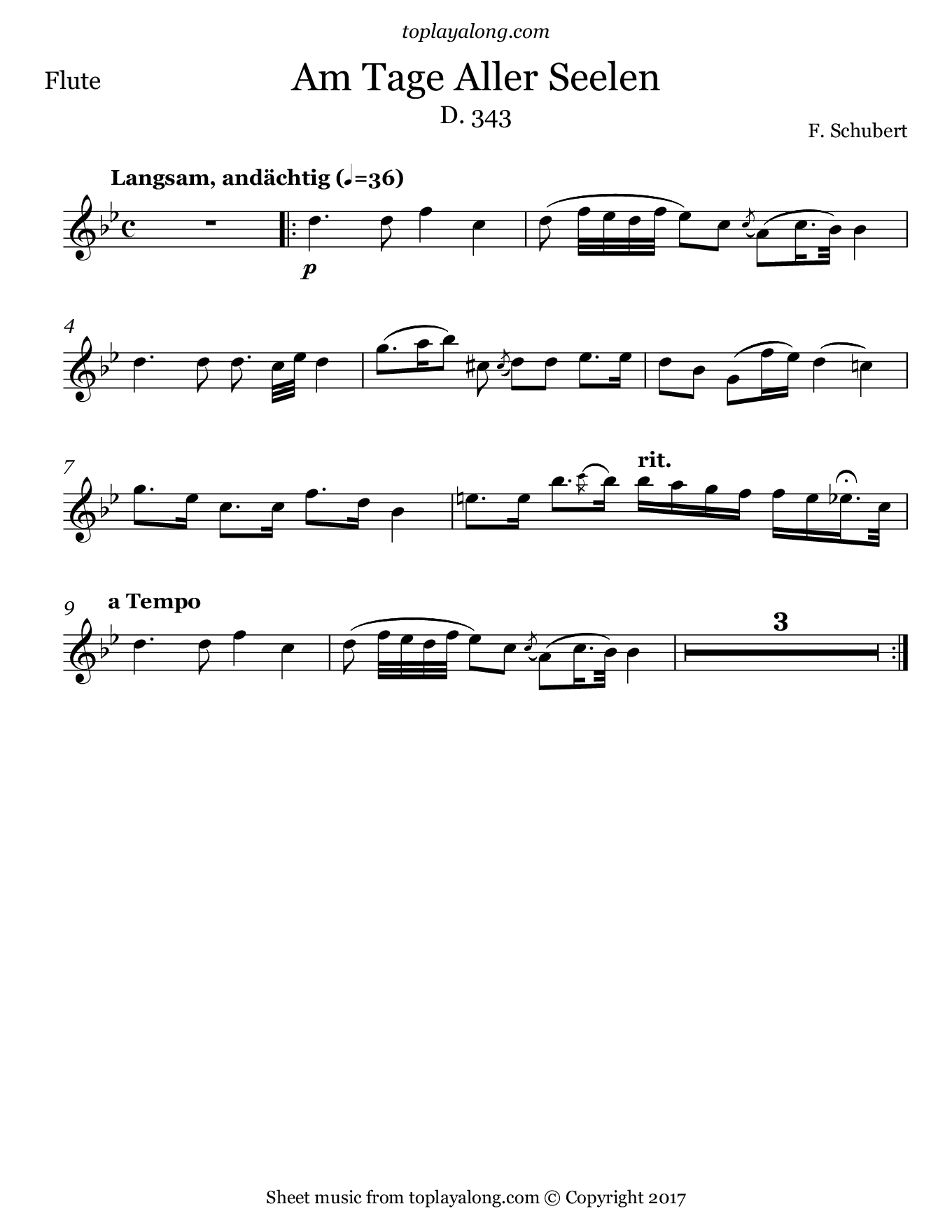 Am Tage Aller Seelen by Schubert. Sheet music for Flute, page 1.