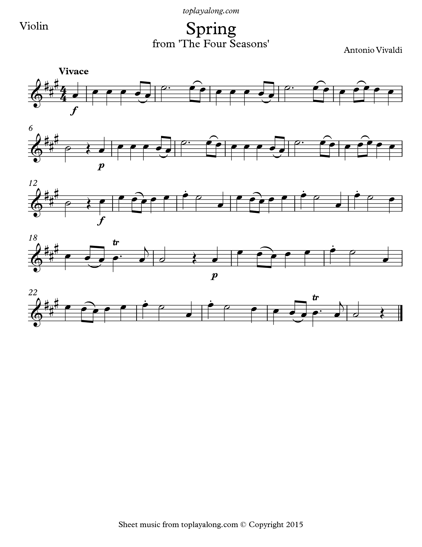 Spring from The Four Seasons by Vivaldi. Sheet music for Violin, page 1.