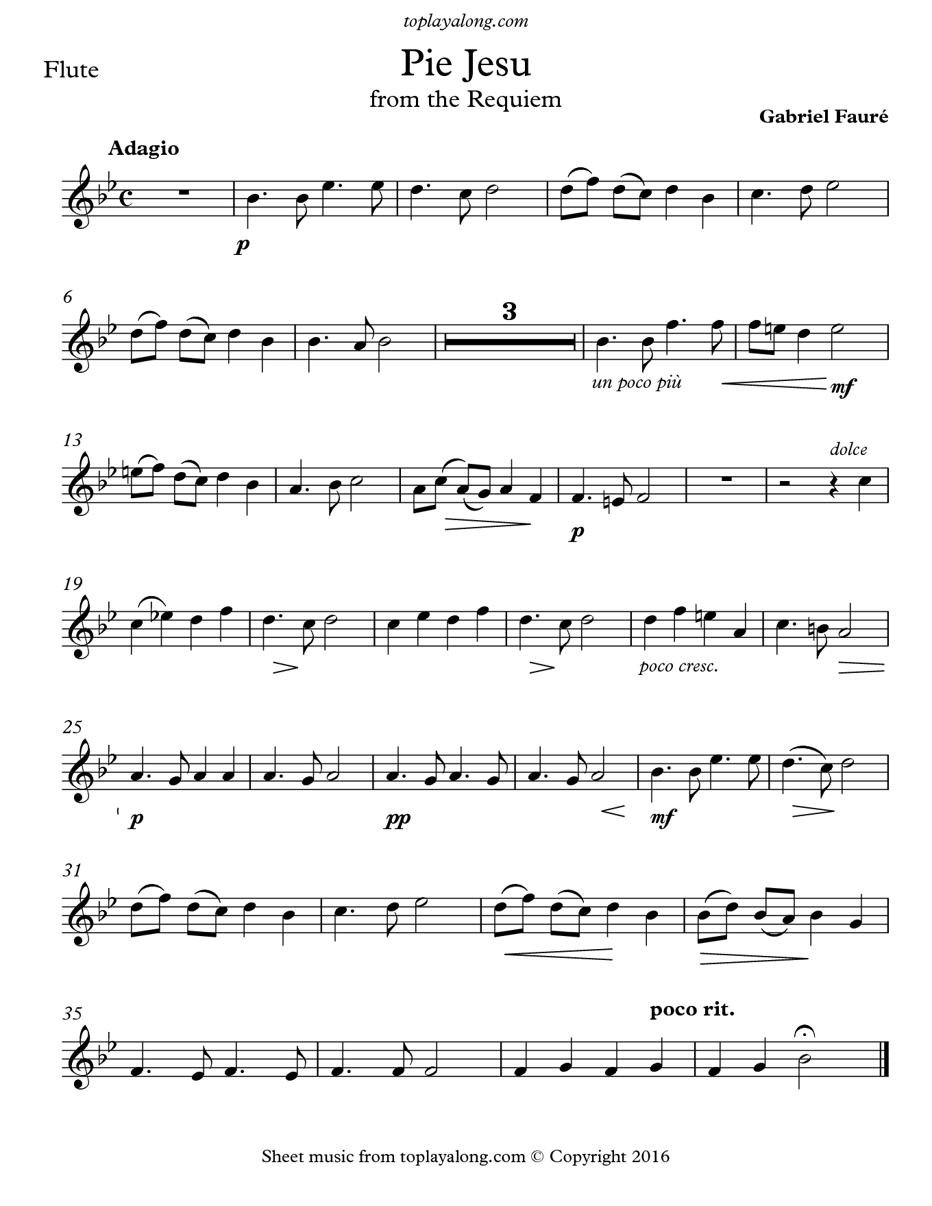 Pie Jesu from the Requiem by Fauré. Sheet music for Flute, page 1.