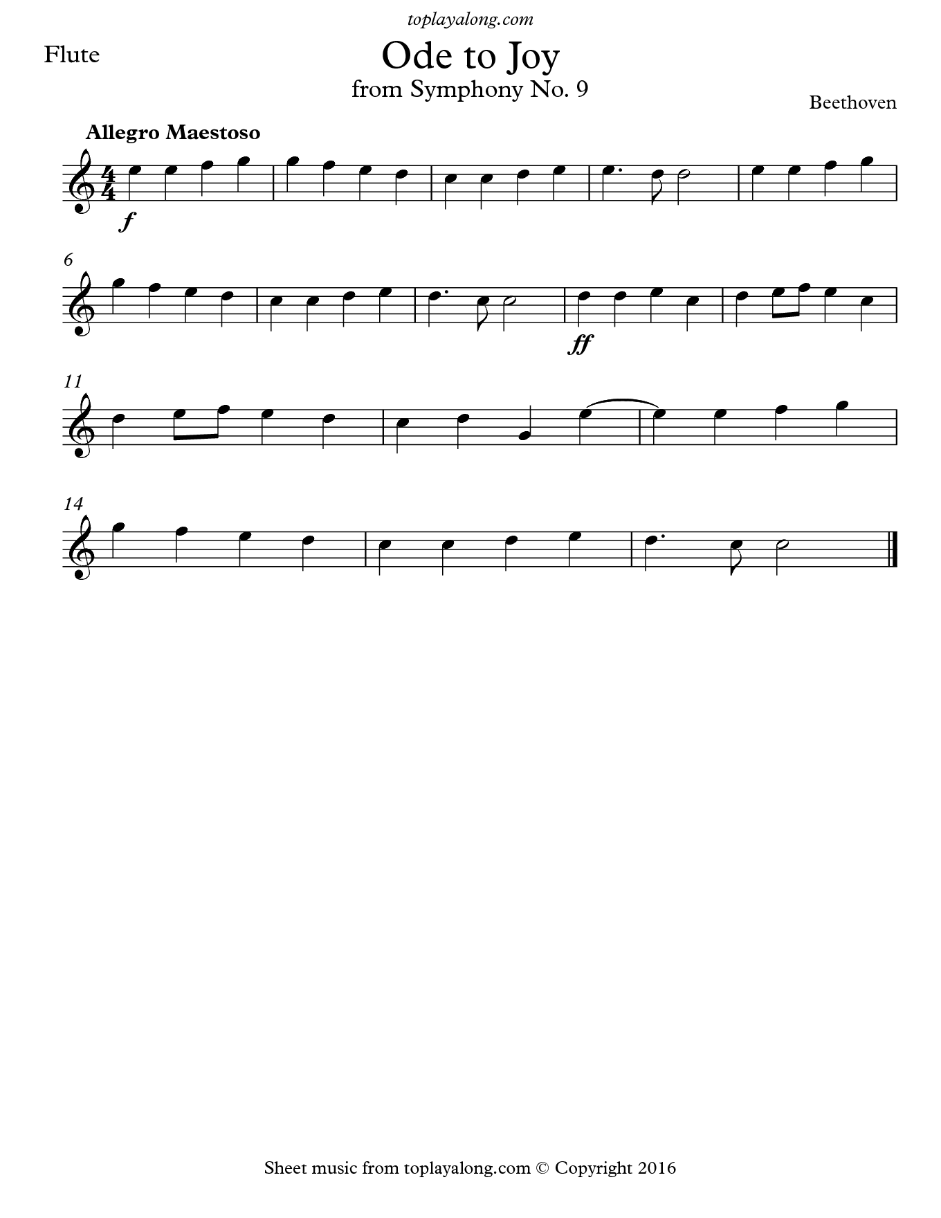 Ode to Joy from Symphony No. 9 by Beethoven. Sheet music for Flute, page 1.