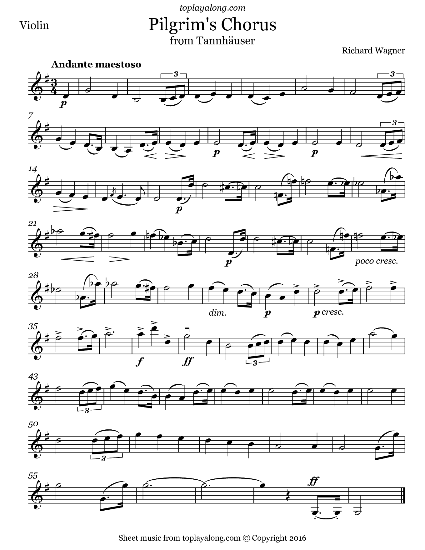 Pilgrim's Chorus from Tannhäuser by Wagner. Sheet music for Violin, page 1.