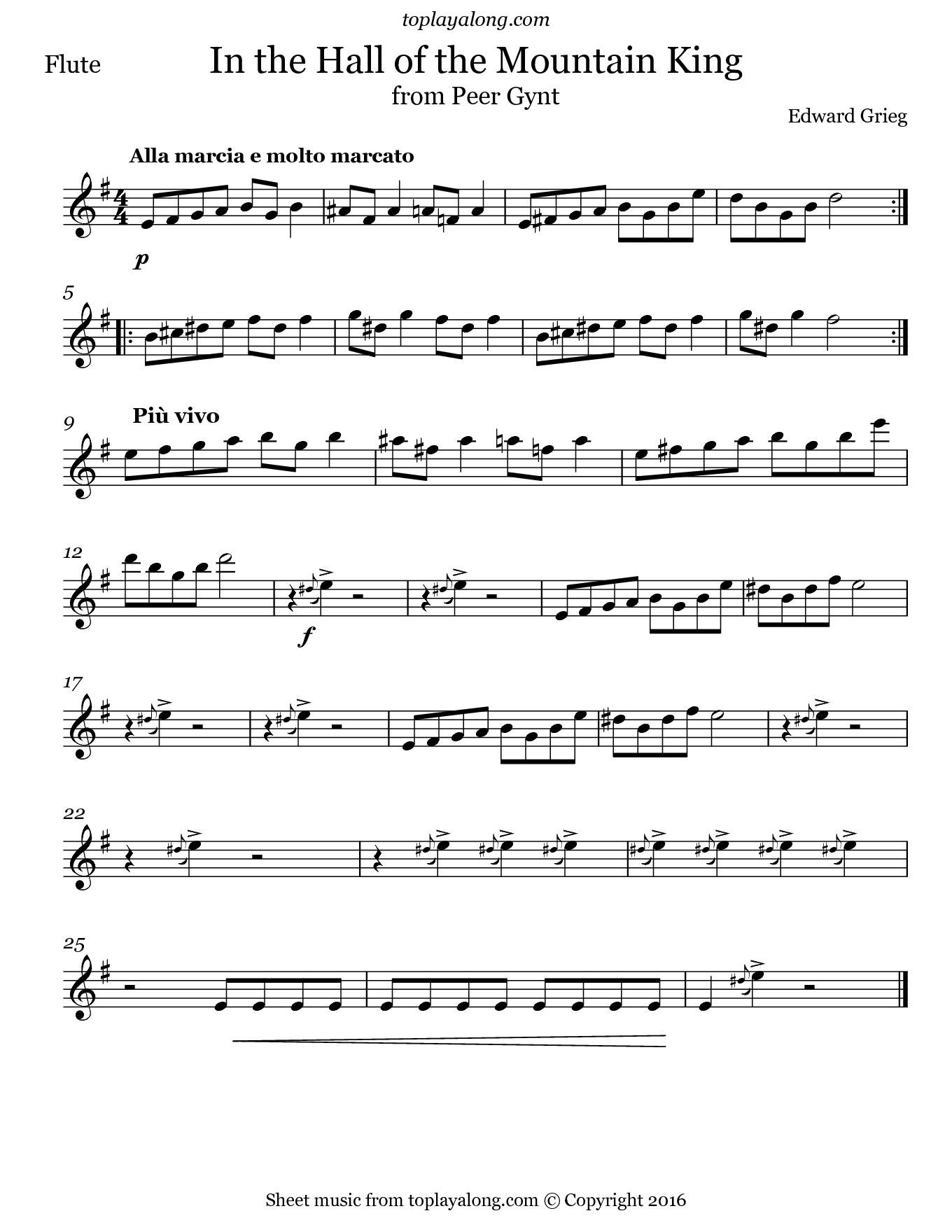 In the Hall of the Mountain King by Grieg. Sheet music for Flute, page 1.