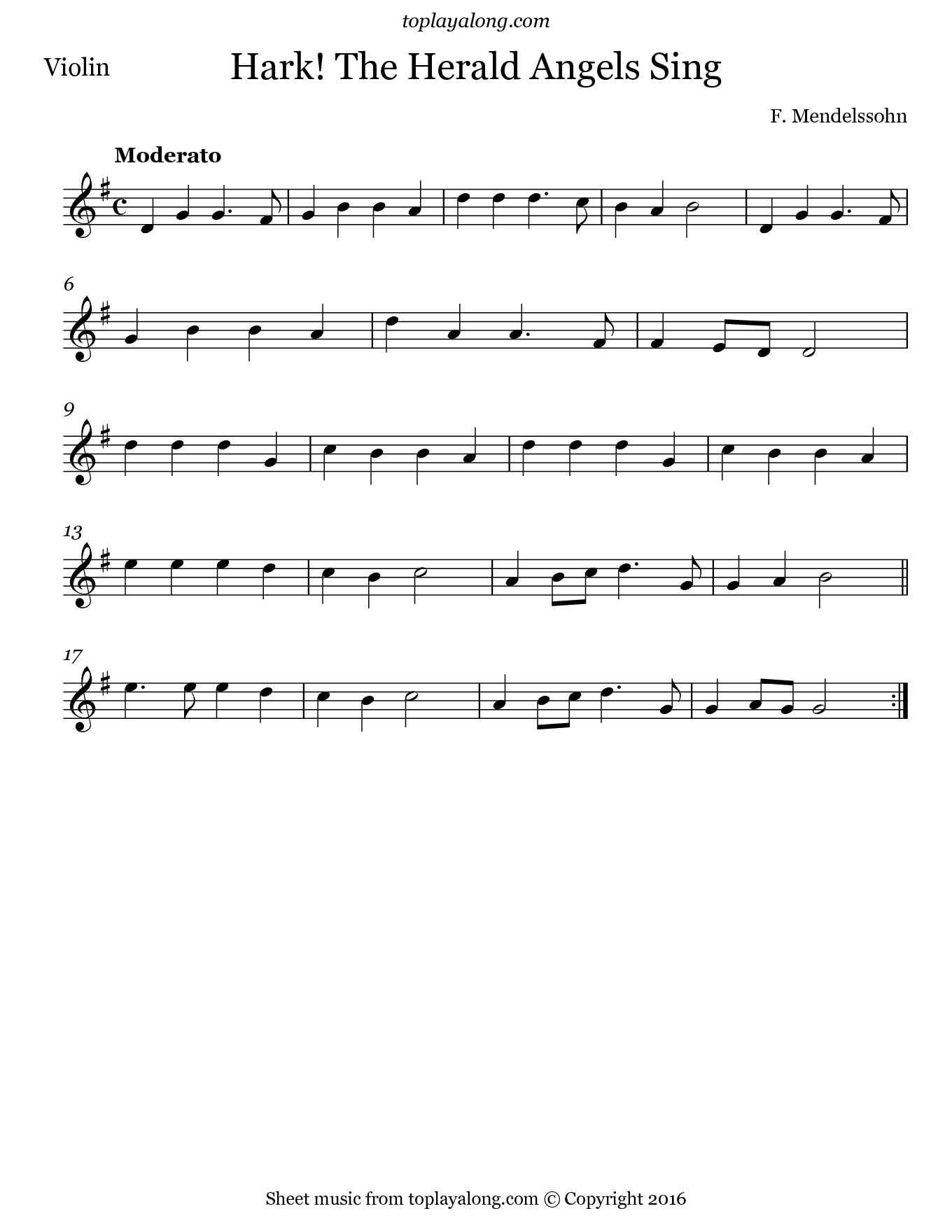Hark! The Herald Angels Sing by Mendelssohn. Sheet music for Violin, page 1.
