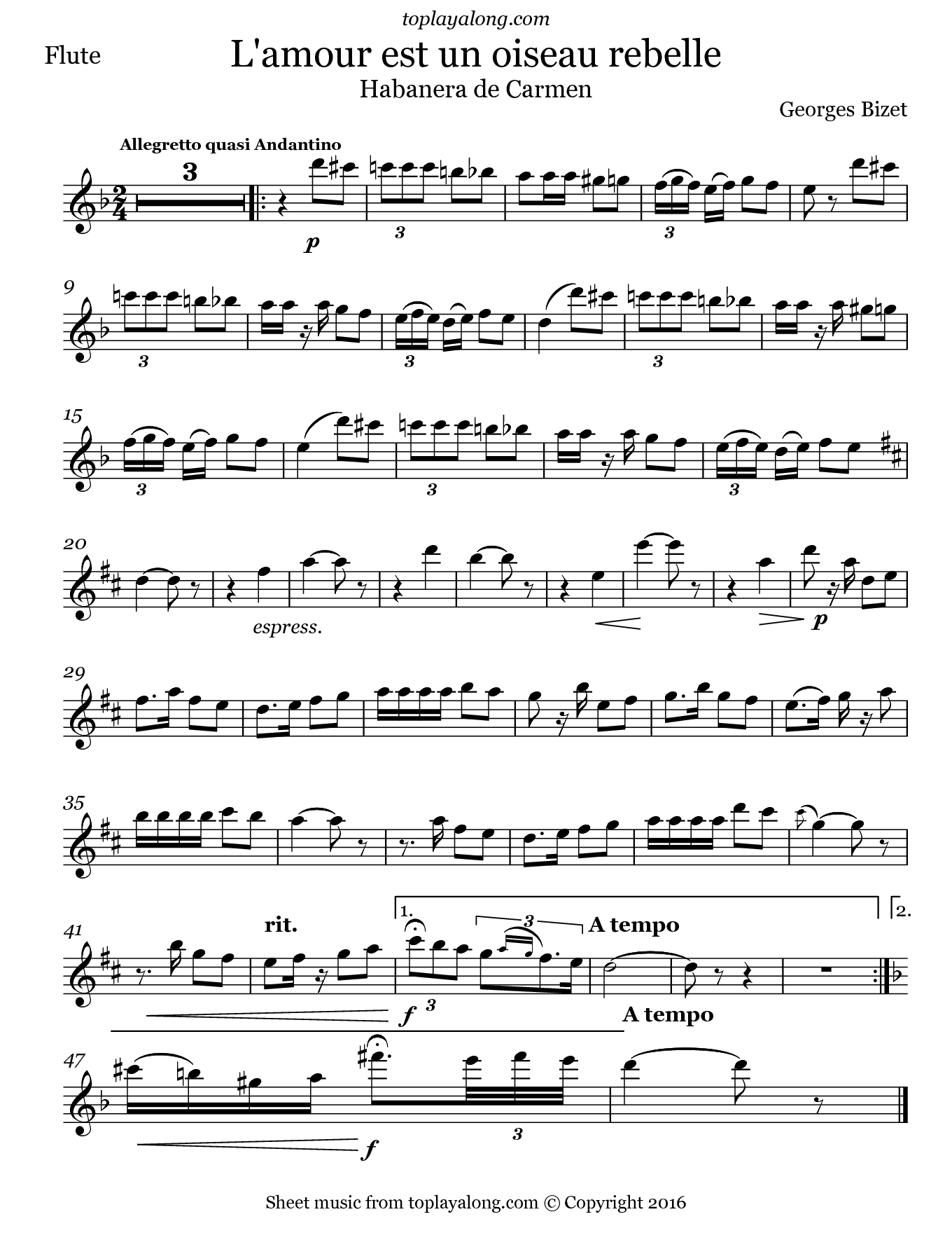 Habanera from Carmen by Bizet. Sheet music for Flute, page 1.