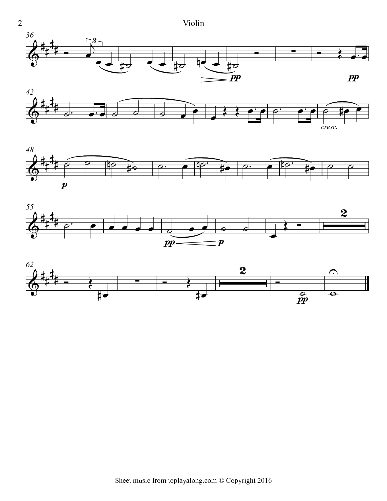 Moonlight Sonata by Beethoven. Sheet music for Violin, page 2.