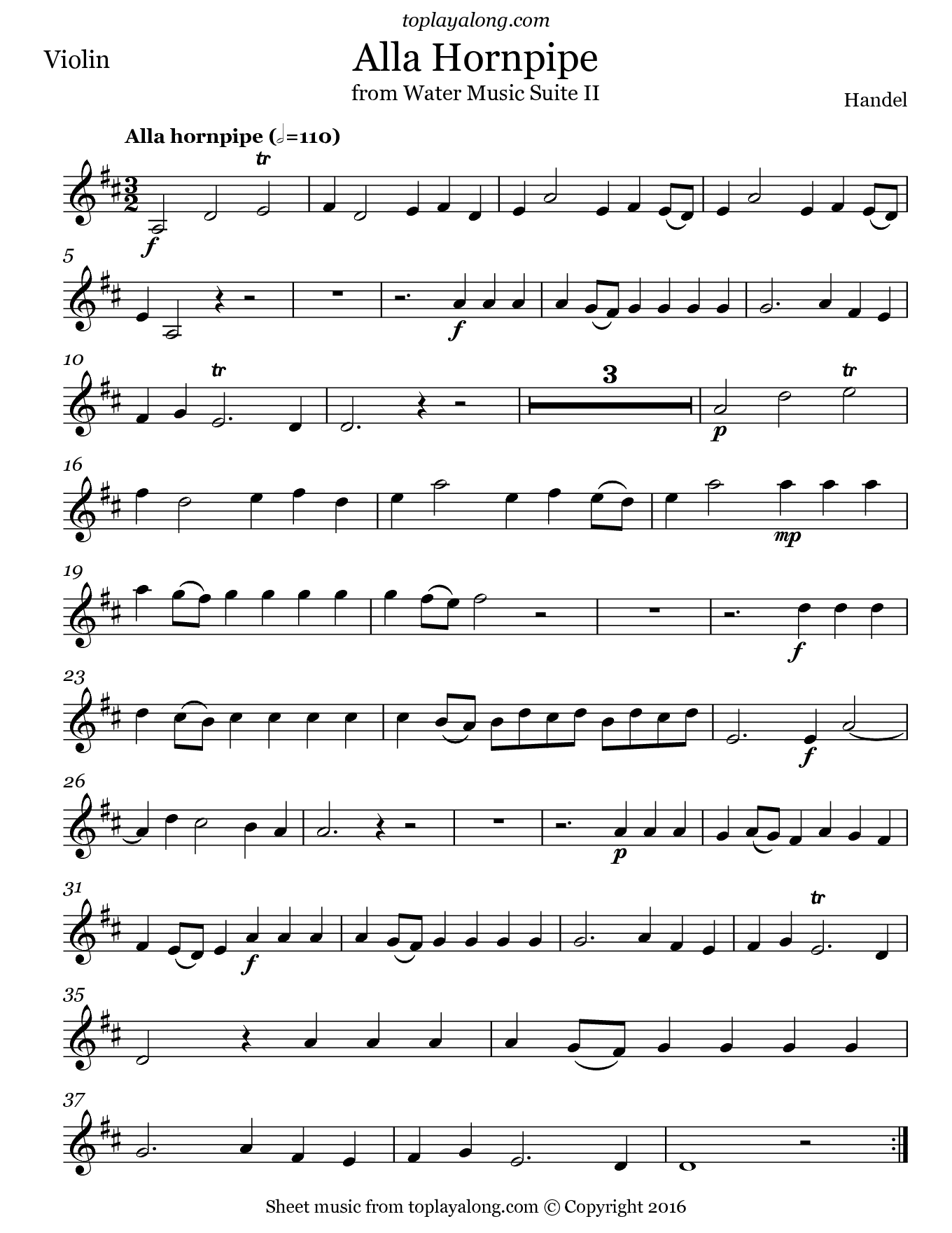 Alla Hornpipe from Water Music Suite II by Handel. Sheet music for Violin, page 1.
