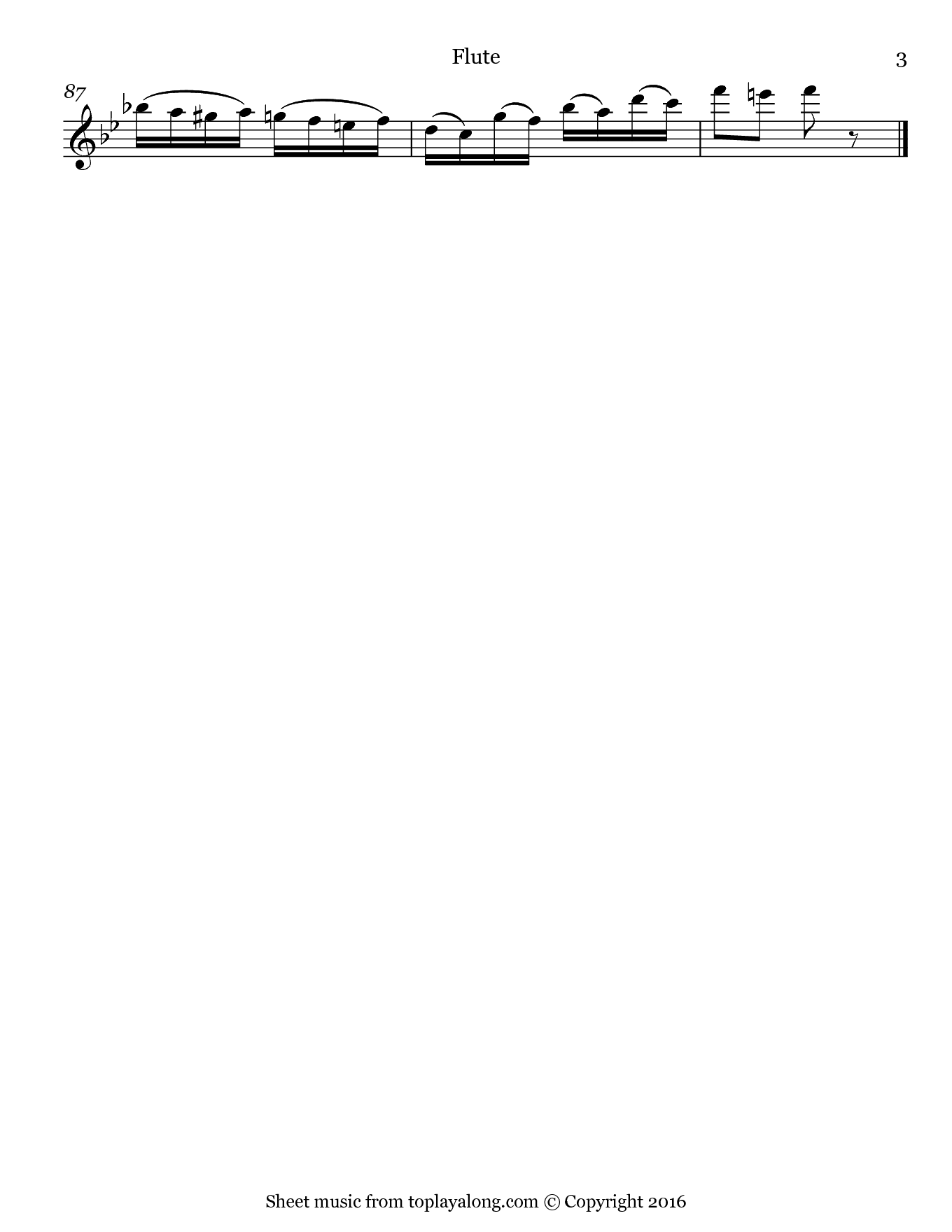 Miniature Overture from The Nutcraker by Tchaikovsky. Sheet music for Flute, page 3.