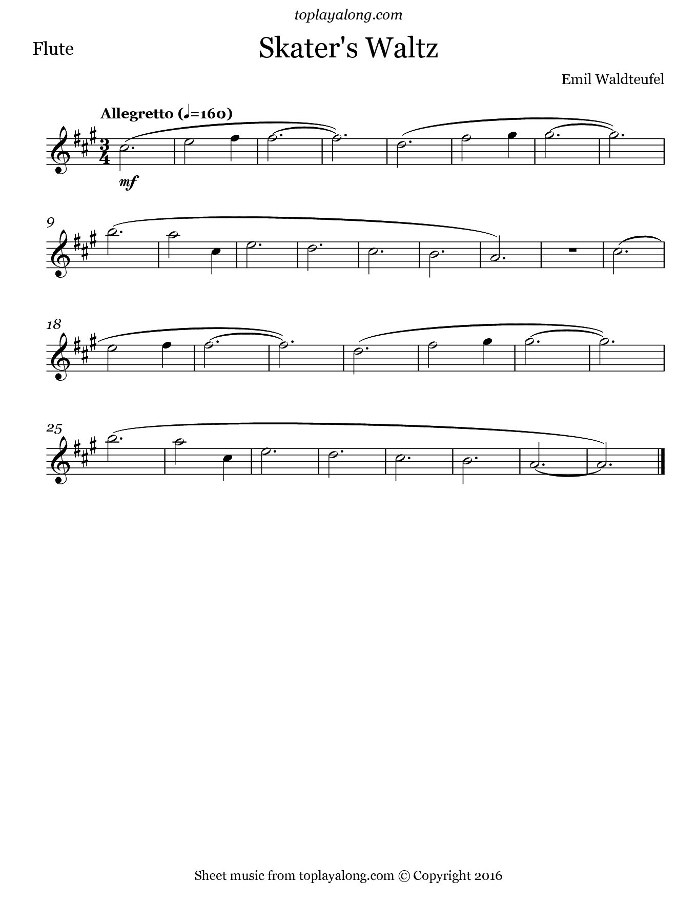 Skater's Waltz by Waldteufel. Sheet music for Flute, page 1.