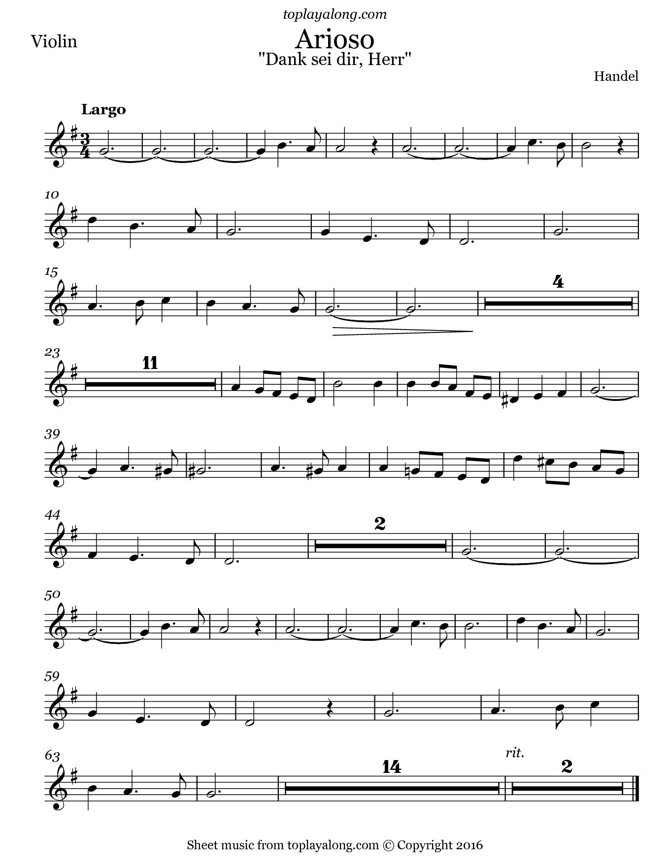 Arioso (Dank sei dir, Herr) by Handel. Sheet music for Violin, page 1.