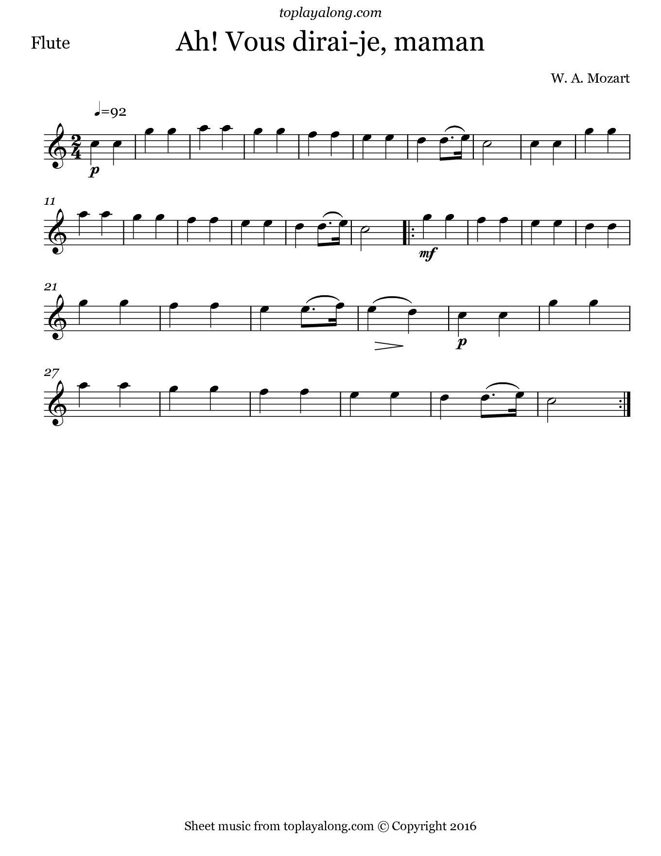 Ah! Vous dirai-je, maman by Mozart. Sheet music for Flute, page 1.