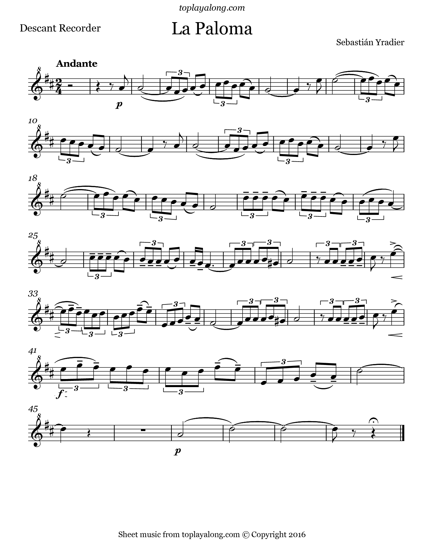 La Paloma by Yradier. Sheet music for Recorder, page 1.