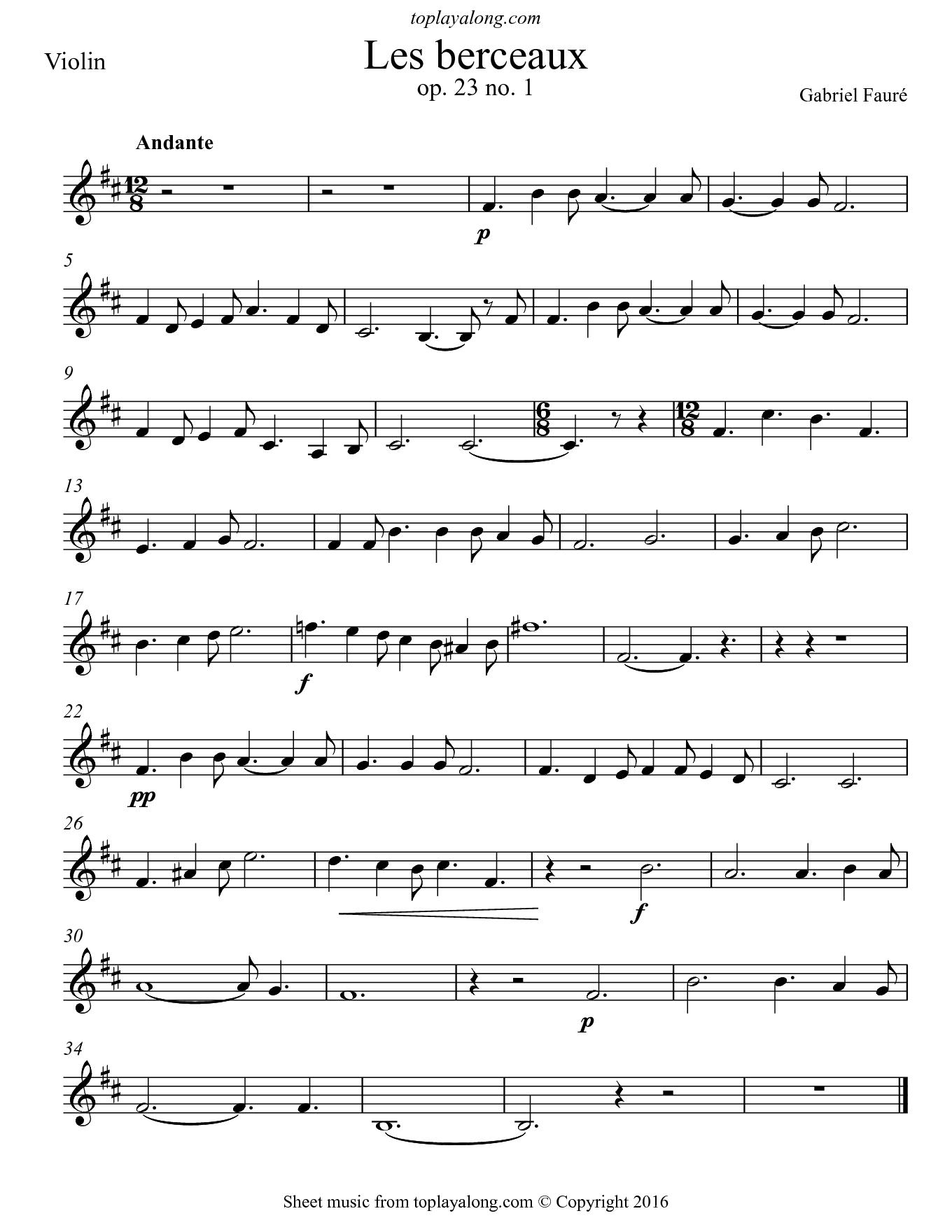 Les berceaux by Fauré. Sheet music for Violin, page 1.