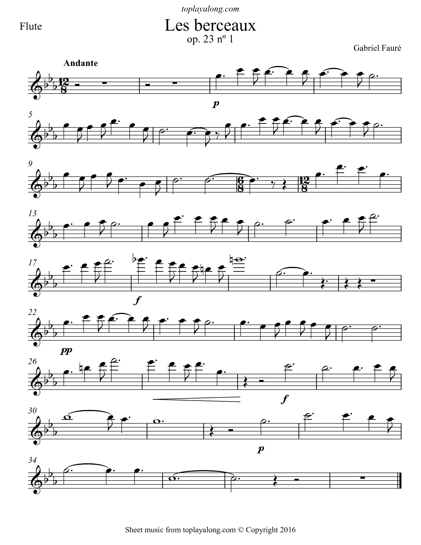 Les berceaux by Fauré. Sheet music for Flute, page 1.