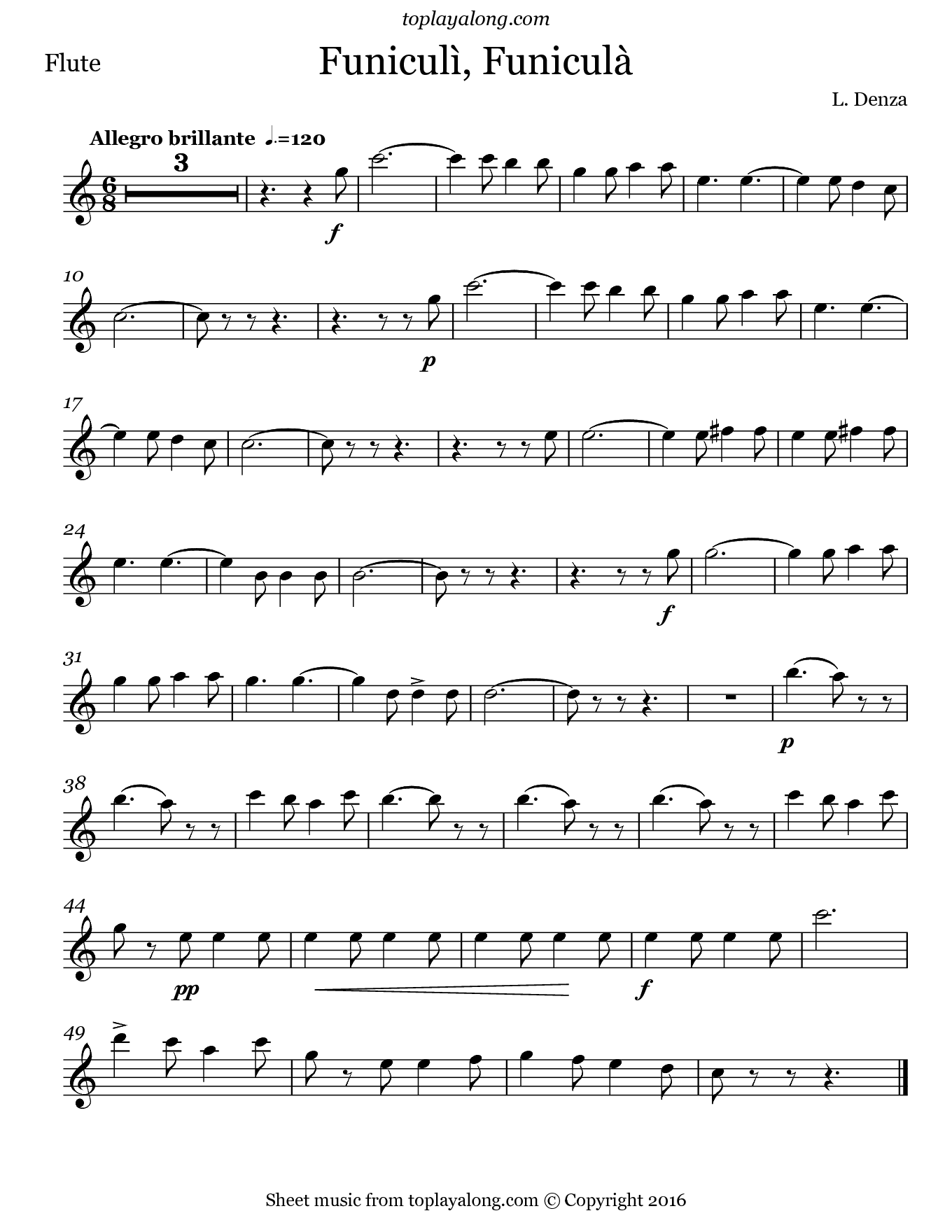 Funiculì, Funiculà by Denza. Sheet music for Flute, page 1.