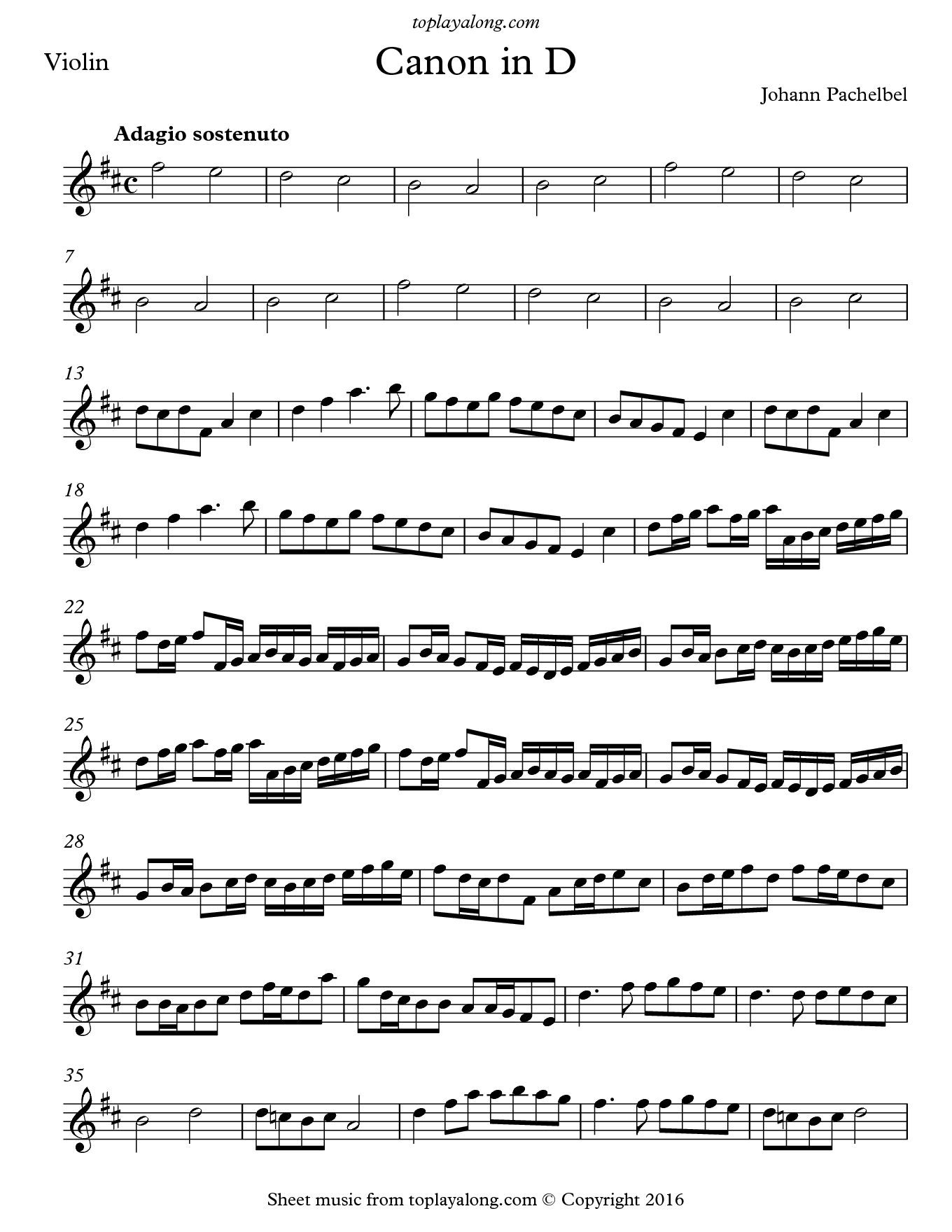 Canon in D by Pachelbel. Sheet music for Violin, page 1.