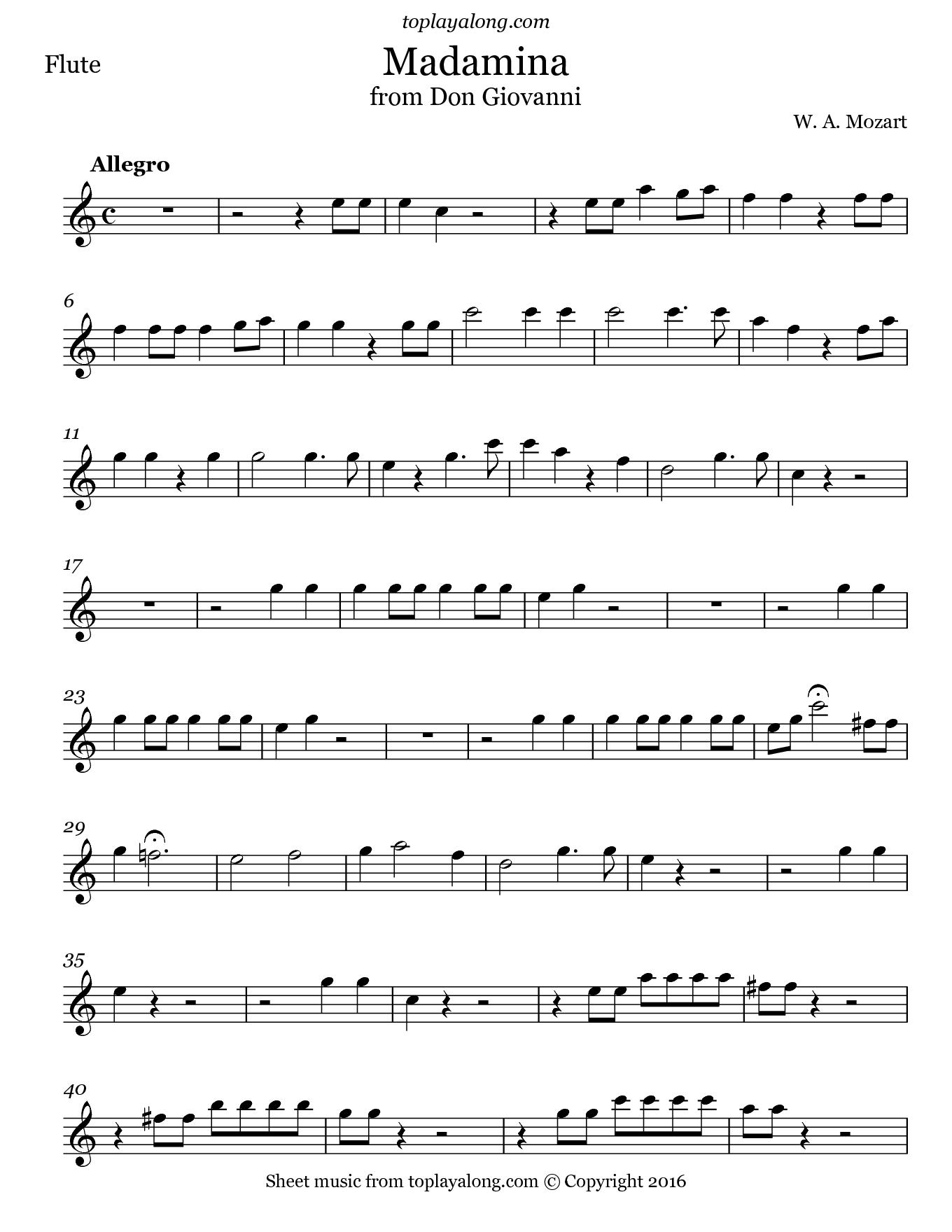 Madamina from Don Giovanni by Mozart. Sheet music for Flute, page 1.