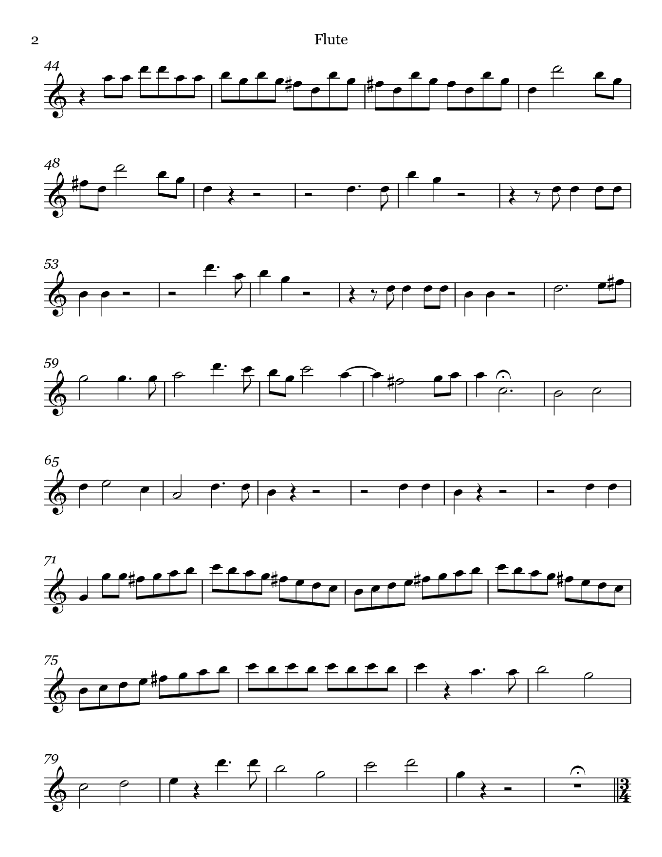 Madamina from Don Giovanni by Mozart. Sheet music for Flute, page 2.