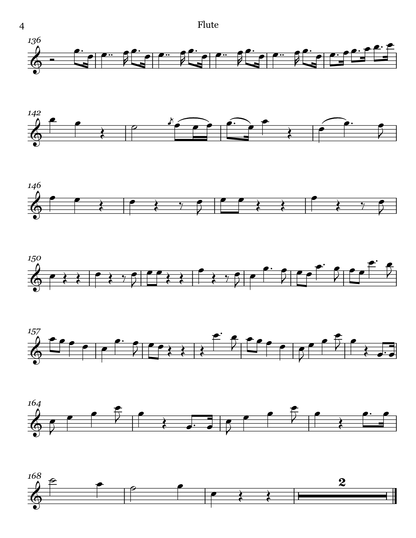 Madamina from Don Giovanni by Mozart. Sheet music for Flute, page 4.