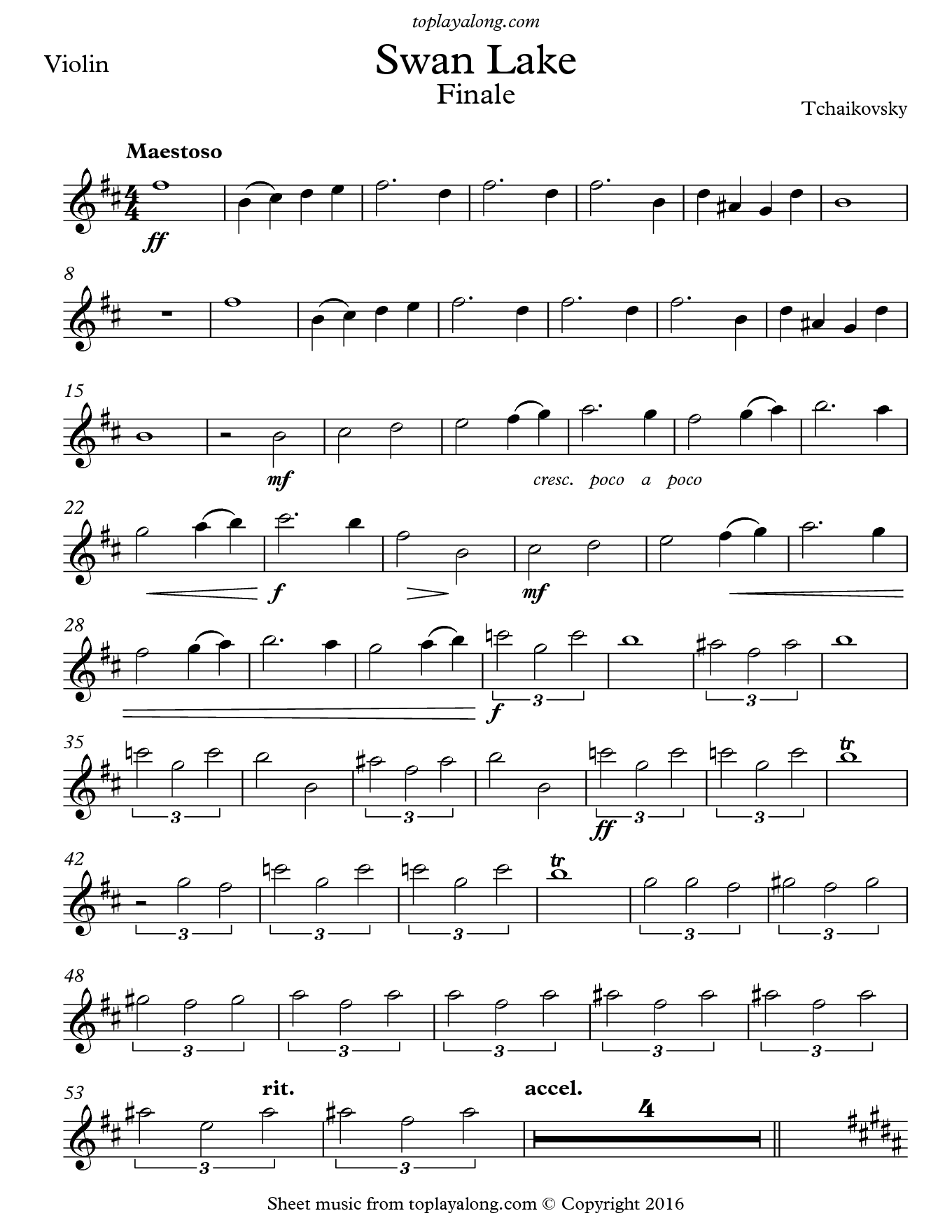 Swan Lake Finale by Tchaikovsky. Sheet music for Violin, page 1.