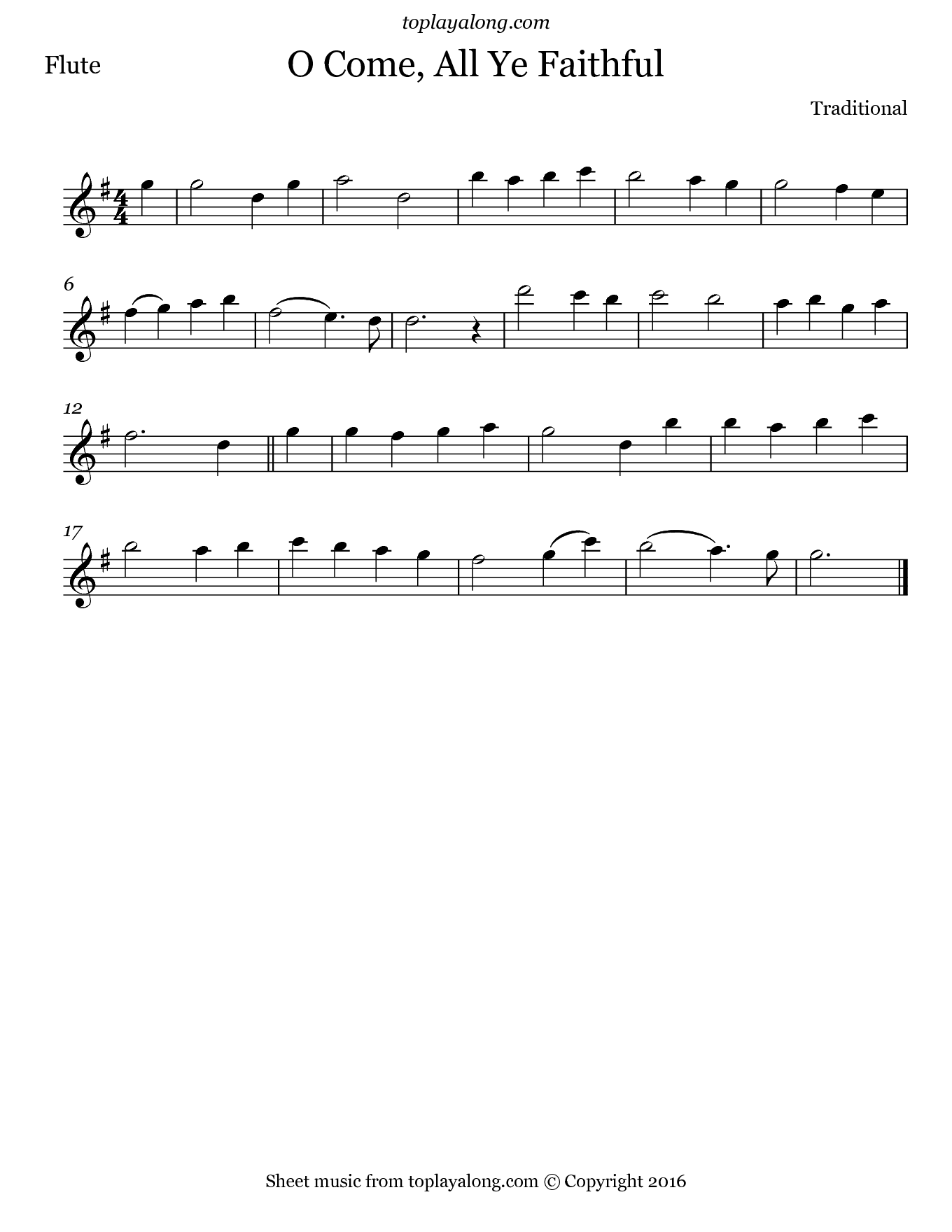O Come, All Ye Faithful. Sheet music for Flute, page 1.
