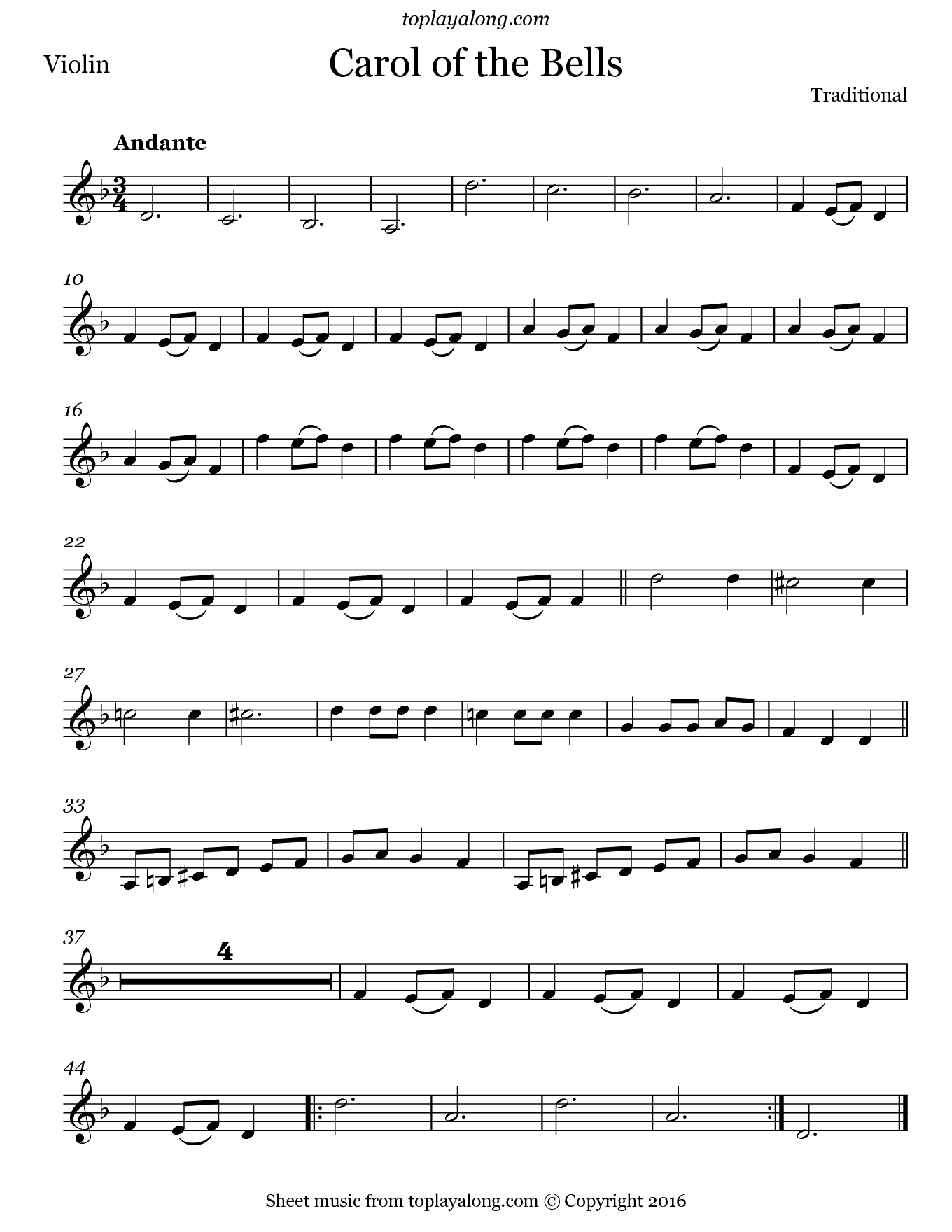 Carol of the Bells. Sheet music for Violin, page 1.