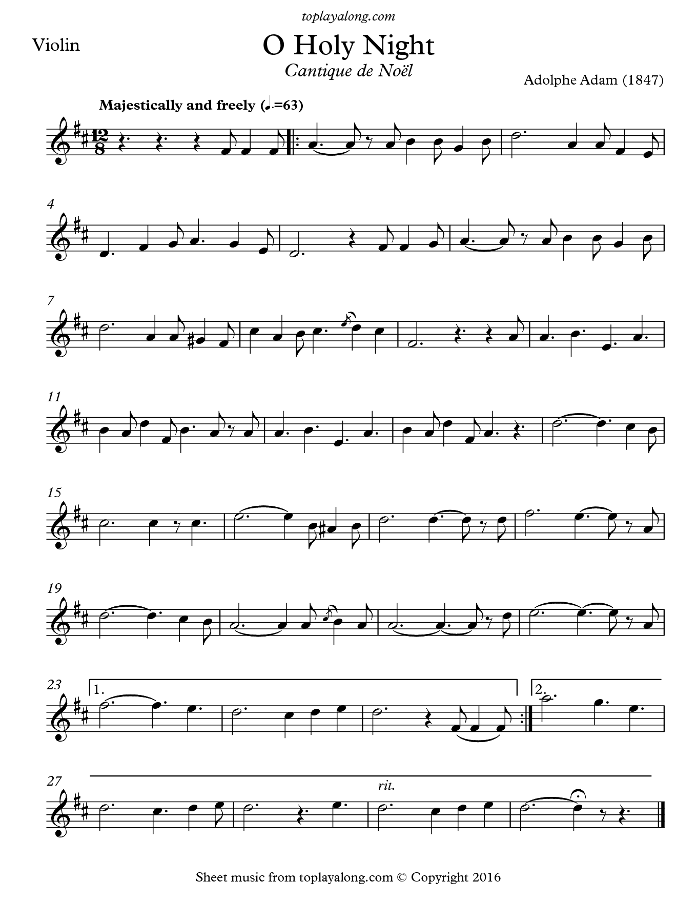 O Holy Night (Cantique de Noel) by Adolphe Adam. Sheet music for Violin, page 1.