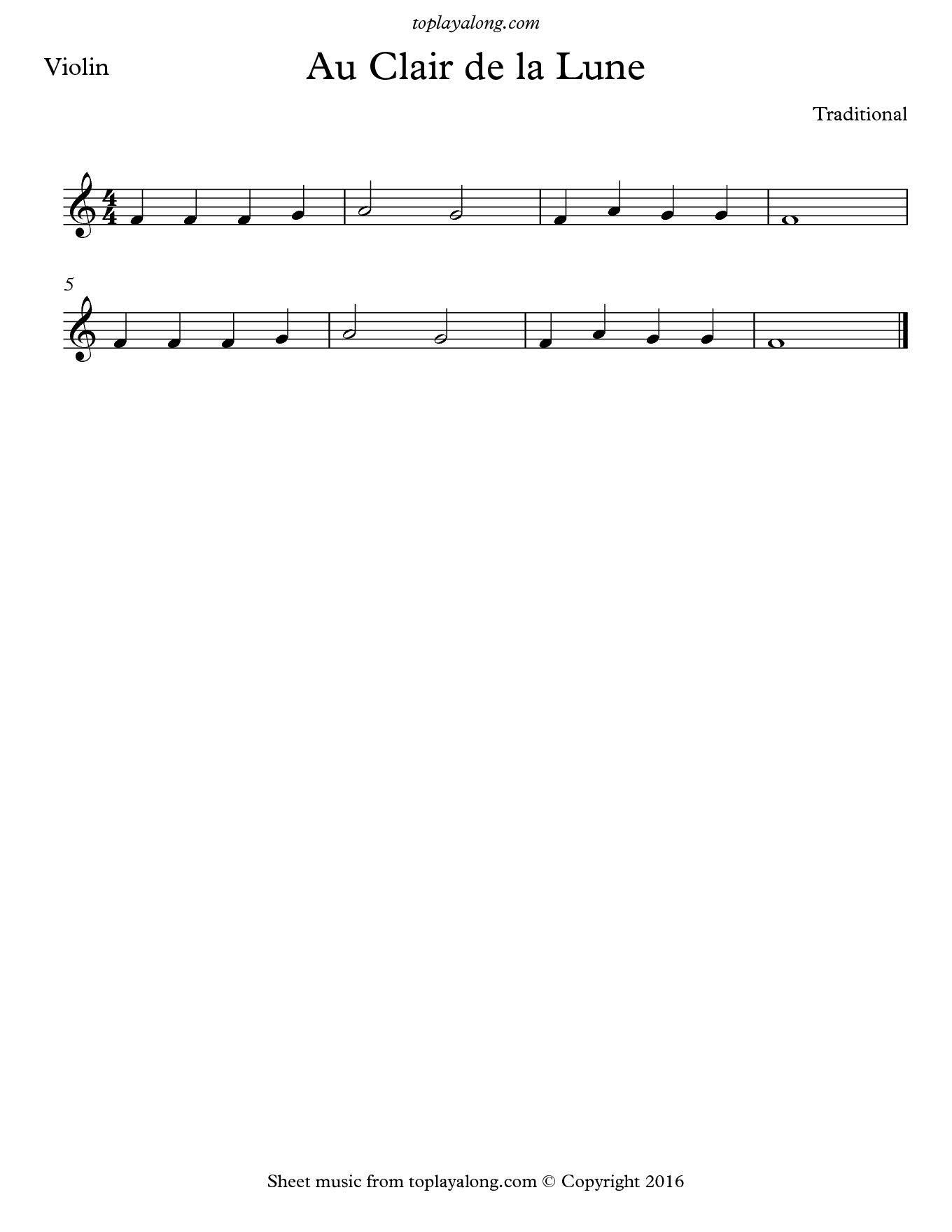 Au Clair de la Lune. Sheet music for Violin, page 1.