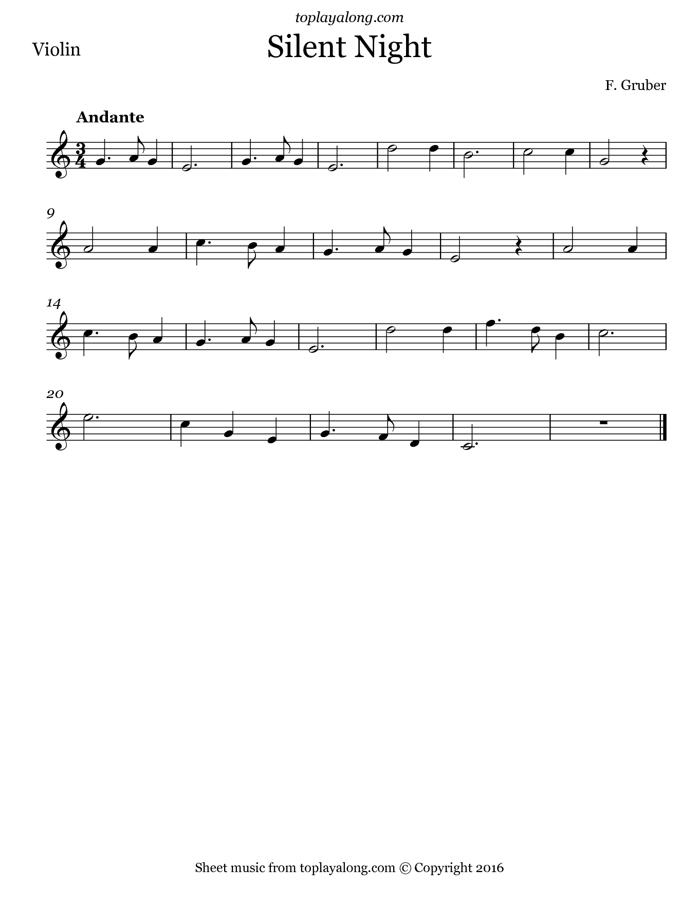 Silent Night by Gruber. Sheet music for Violin, page 1.