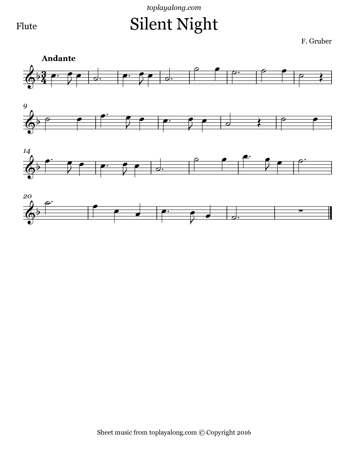 Silent Night by Gruber. Sheet music for Flute, page 1.