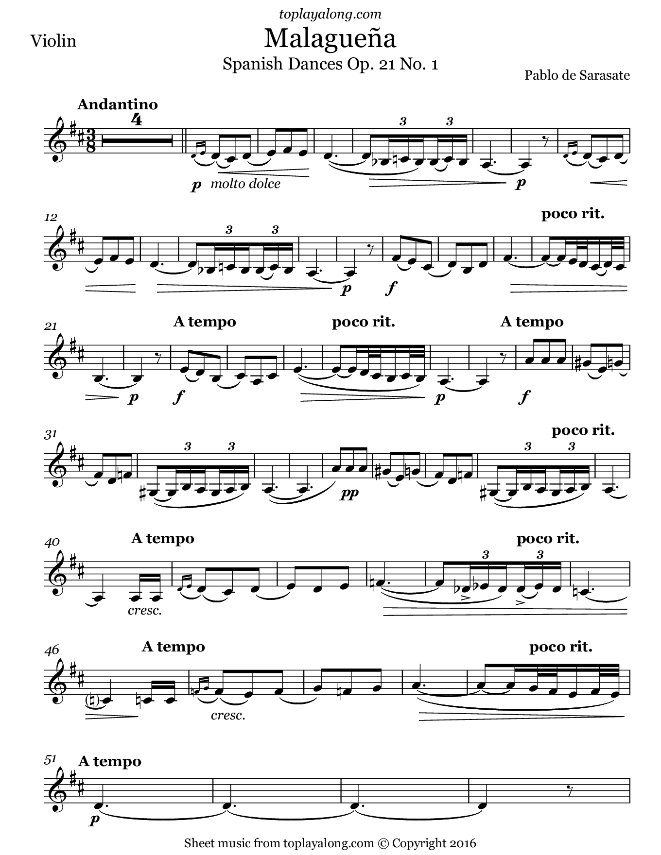 Malagueña (Spanish Dance No. 1) Op. 21 by Sarasate. Sheet music for Violin, page 1.