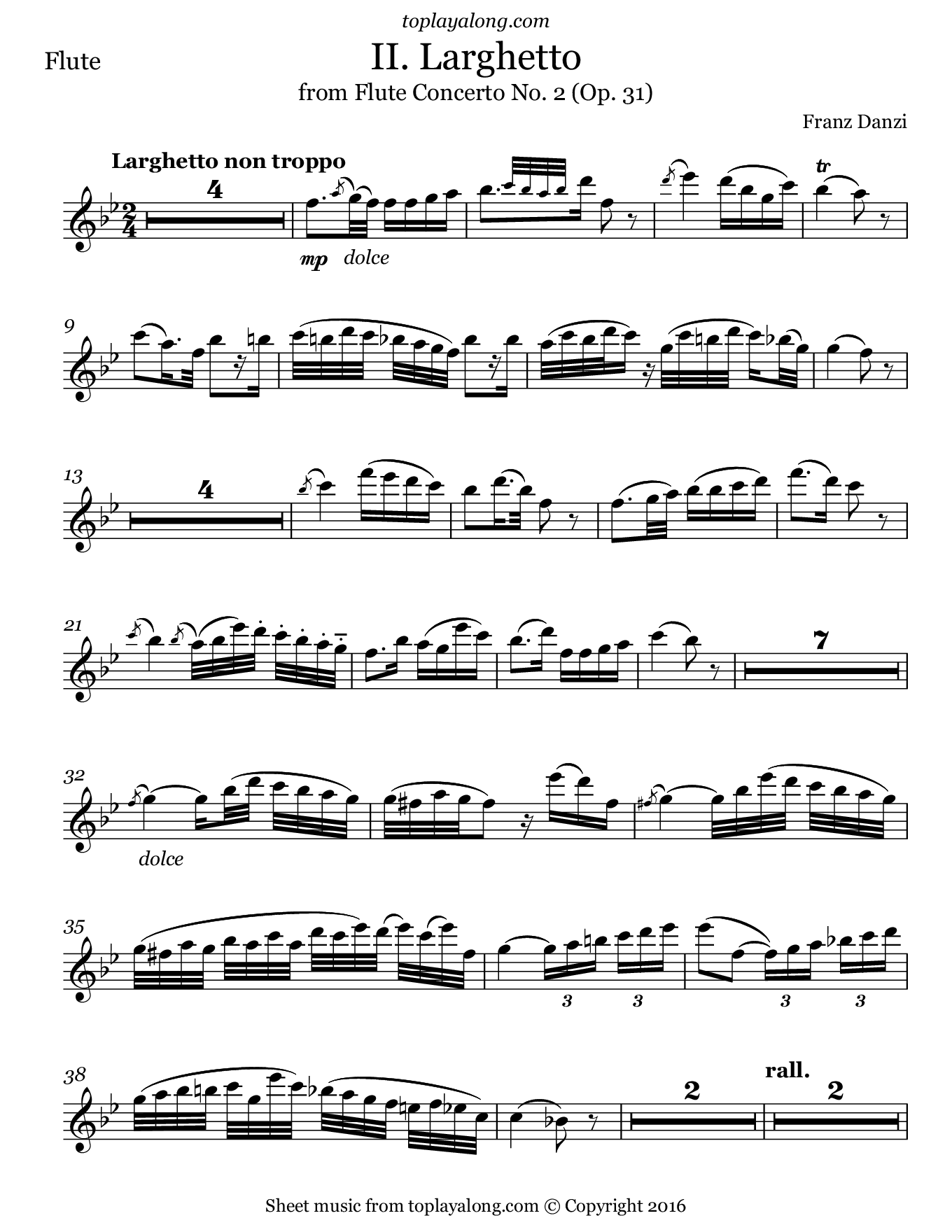 Flute Concerto No. 2 (II. Larghetto) by Danzi. Sheet music for Flute, page 1.