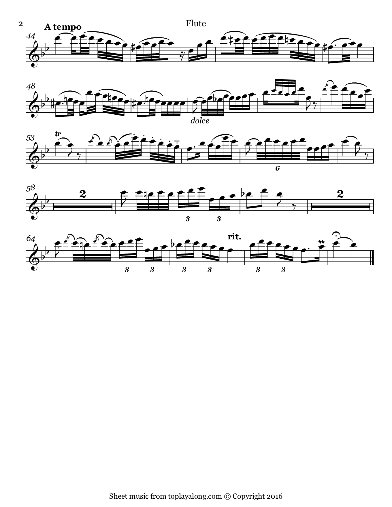 Flute Concerto No. 2 (II. Larghetto) by Danzi. Sheet music for Flute, page 2.