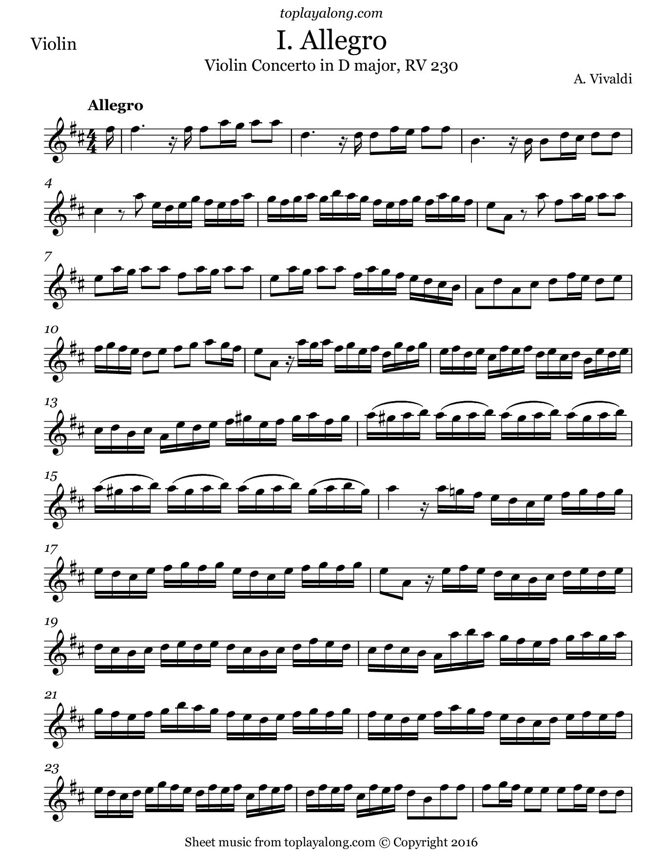 Violin Concerto in D major (I. Allegro) by Vivaldi. Sheet music for Violin, page 1.