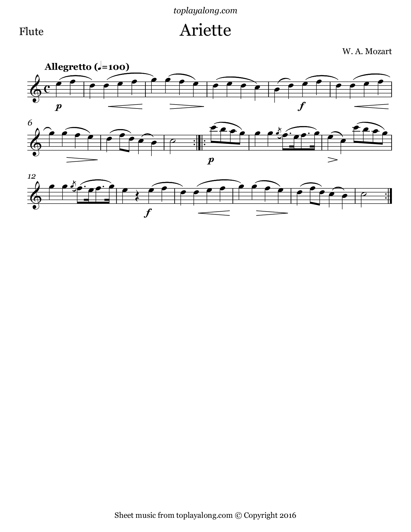 Ariette by Mozart. Sheet music for Flute, page 1.