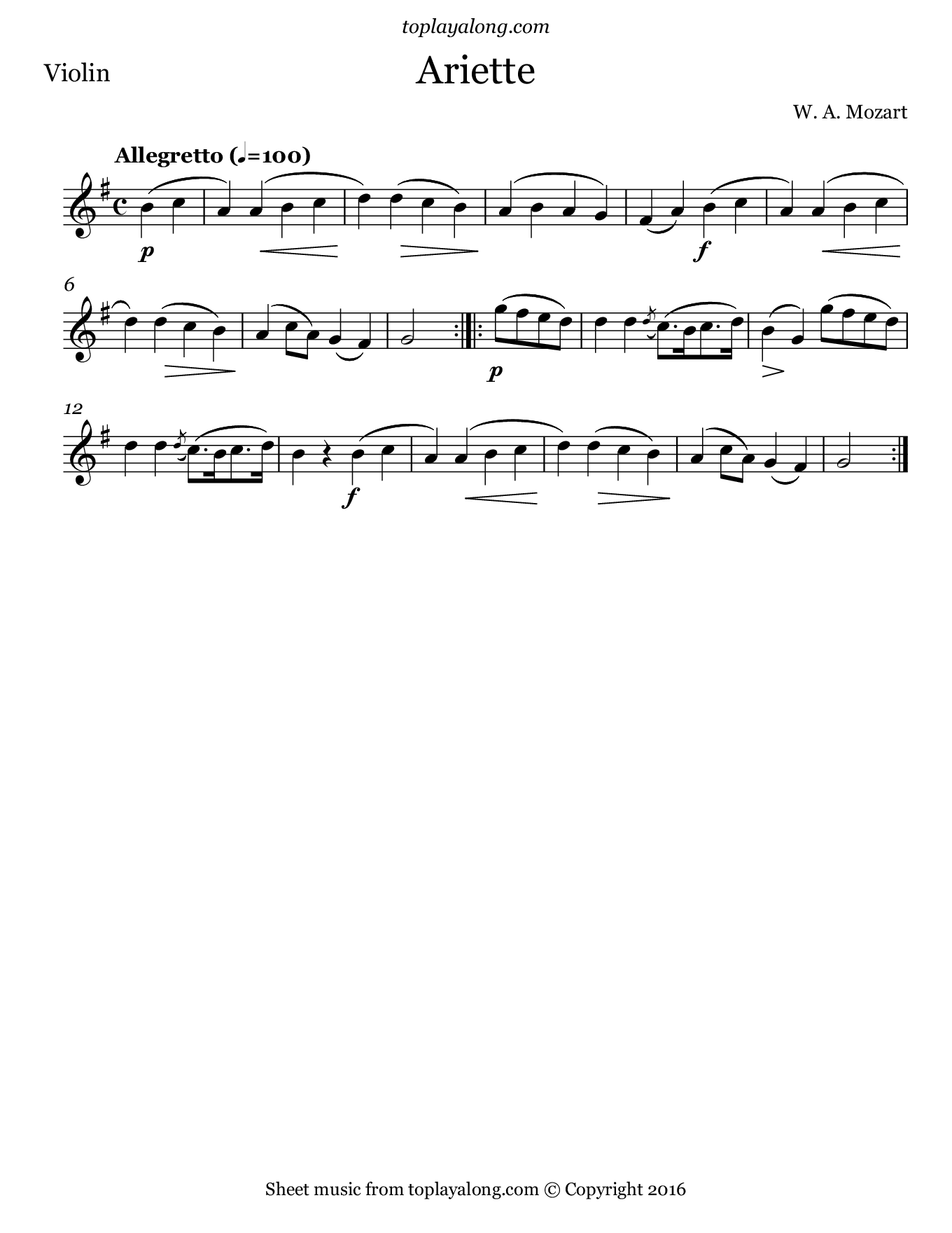 Ariette by Mozart. Sheet music for Violin, page 1.