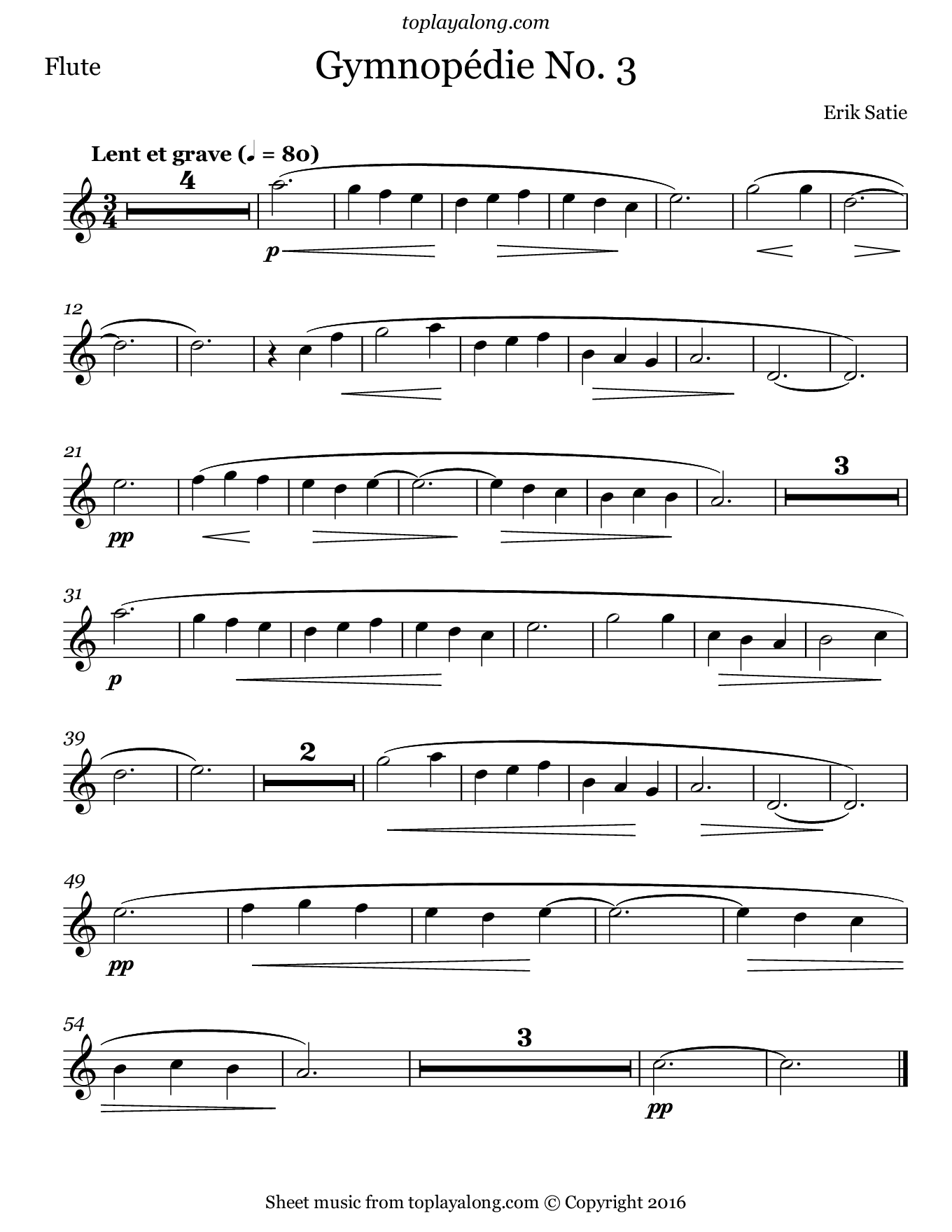 Gymnopédie No. 3 by Satie. Sheet music for Flute, page 1.