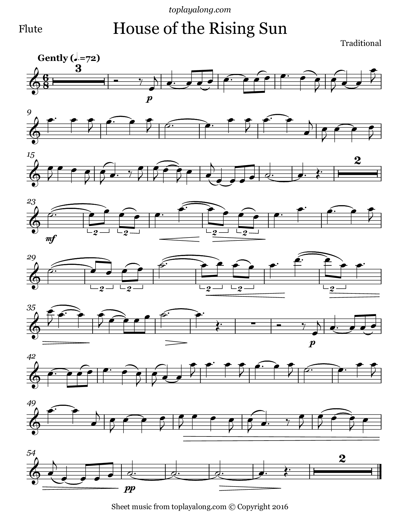 House of the Rising Sun. Sheet music for Flute, page 1.
