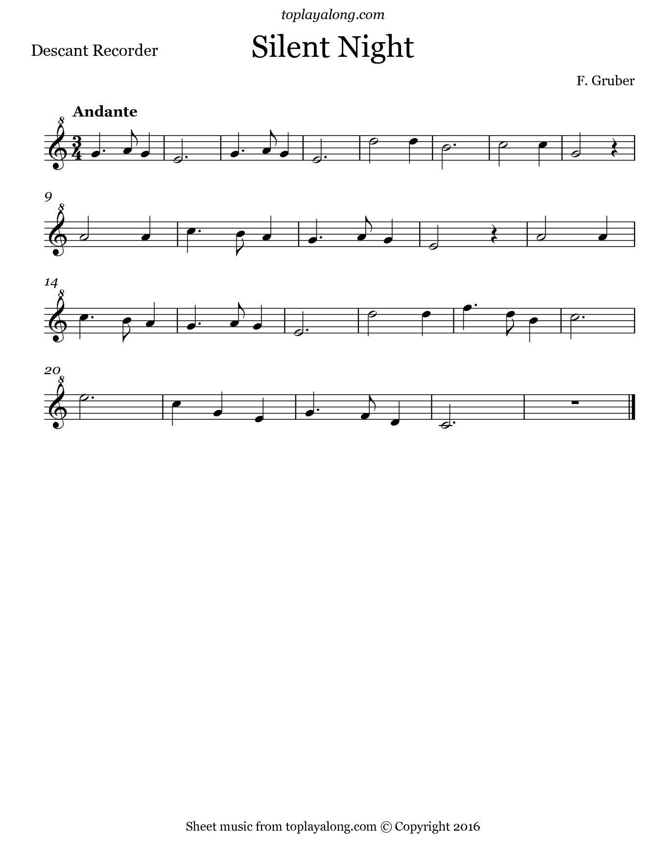 Silent Night by Gruber. Sheet music for Recorder, page 1.