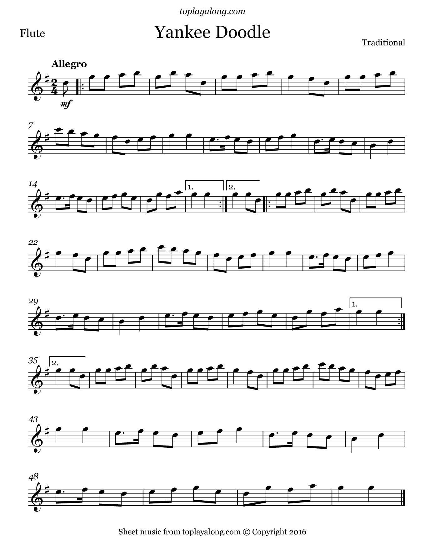 Yankee Doodle. Sheet music for Flute, page 1.