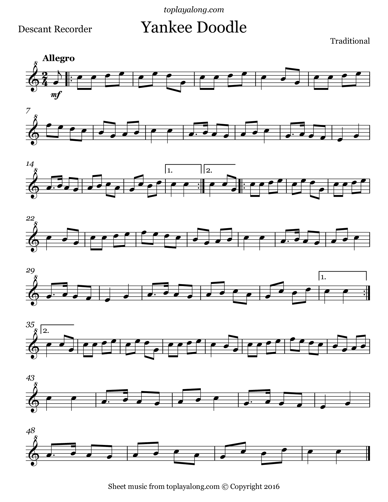 Yankee Doodle. Sheet music for Recorder, page 1.
