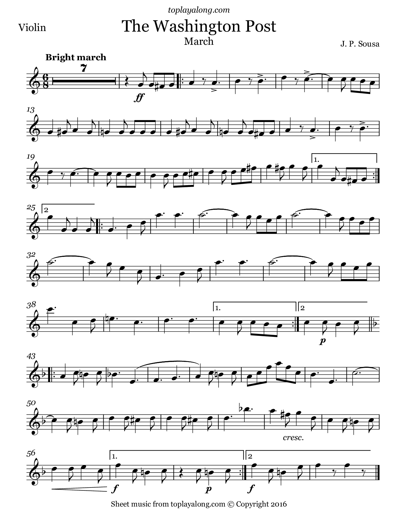 The Washington Post March by Sousa. Sheet music for Violin, page 1.