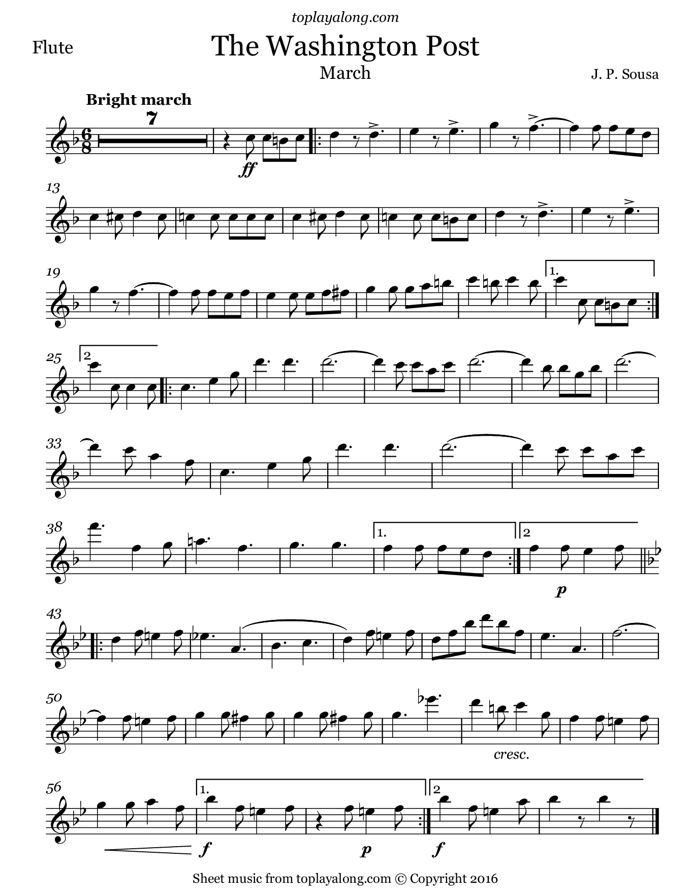 The Washington Post March by Sousa. Sheet music for Flute, page 1.