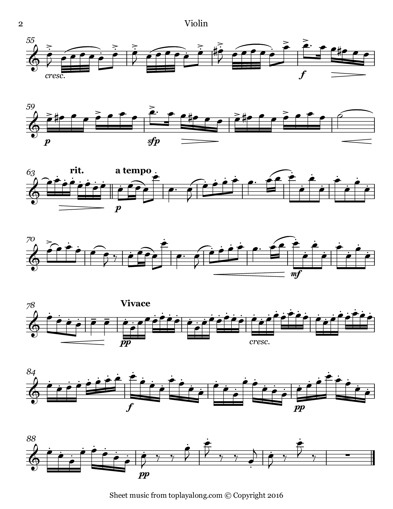 Tambourin by Gossec. Sheet music for Violin, page 2.