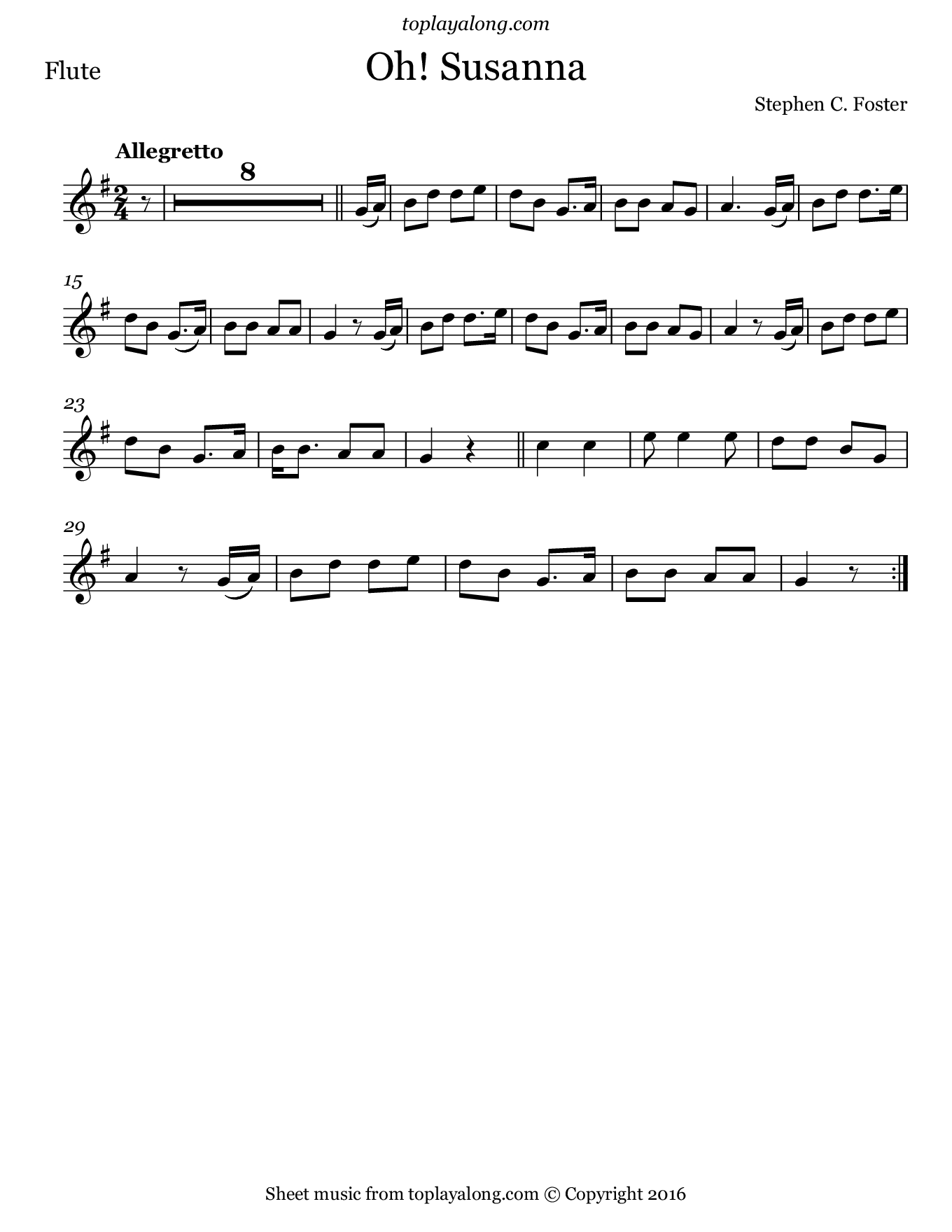 Oh! Susanna by Foster. Sheet music for Flute, page 1.
