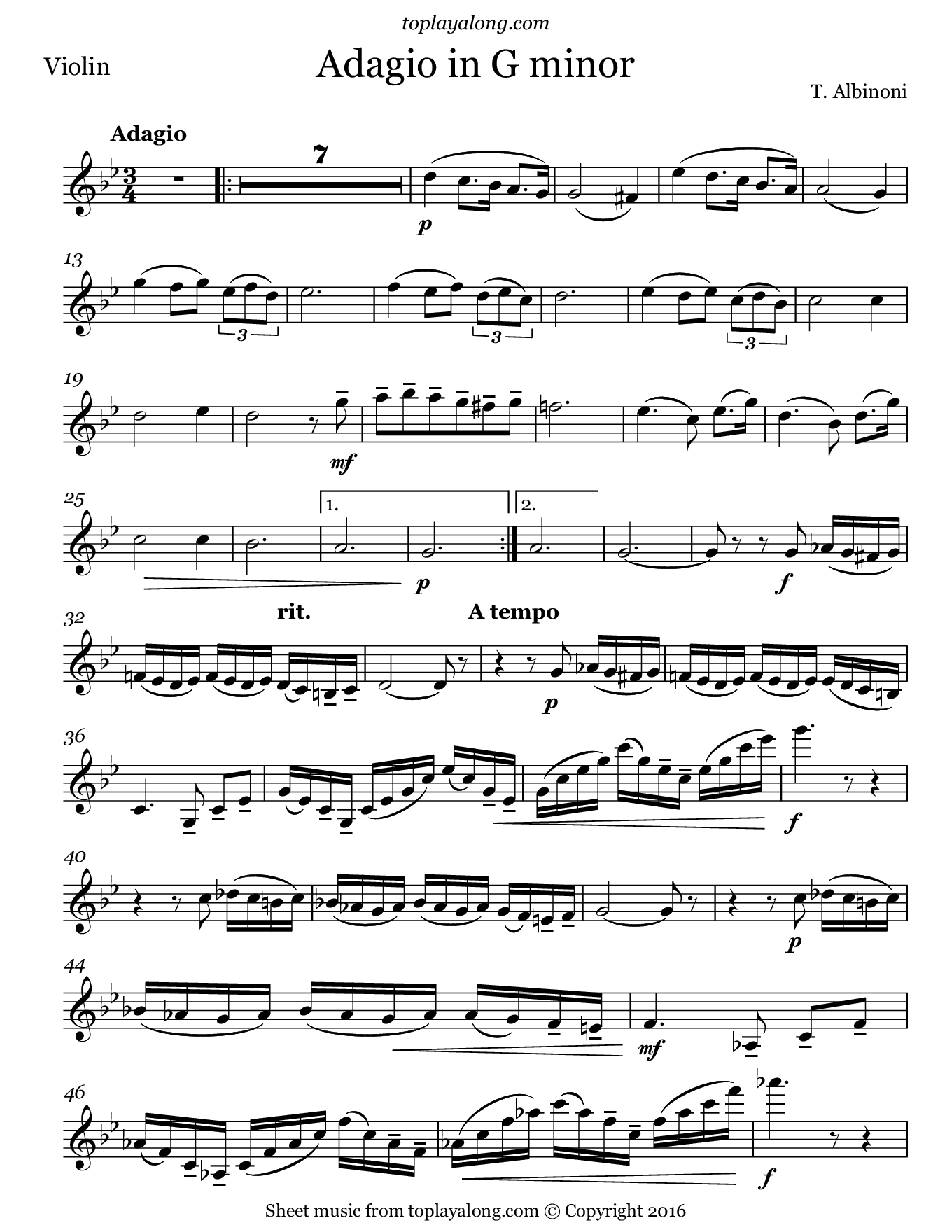 Adagio in G minor by Albinoni. Sheet music for Violin, page 1.