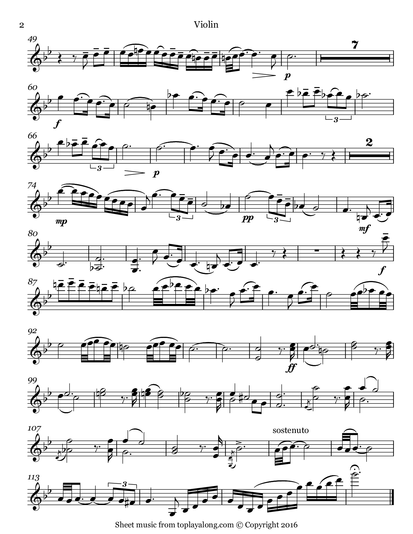 Adagio in G minor by Albinoni. Sheet music for Violin, page 2.